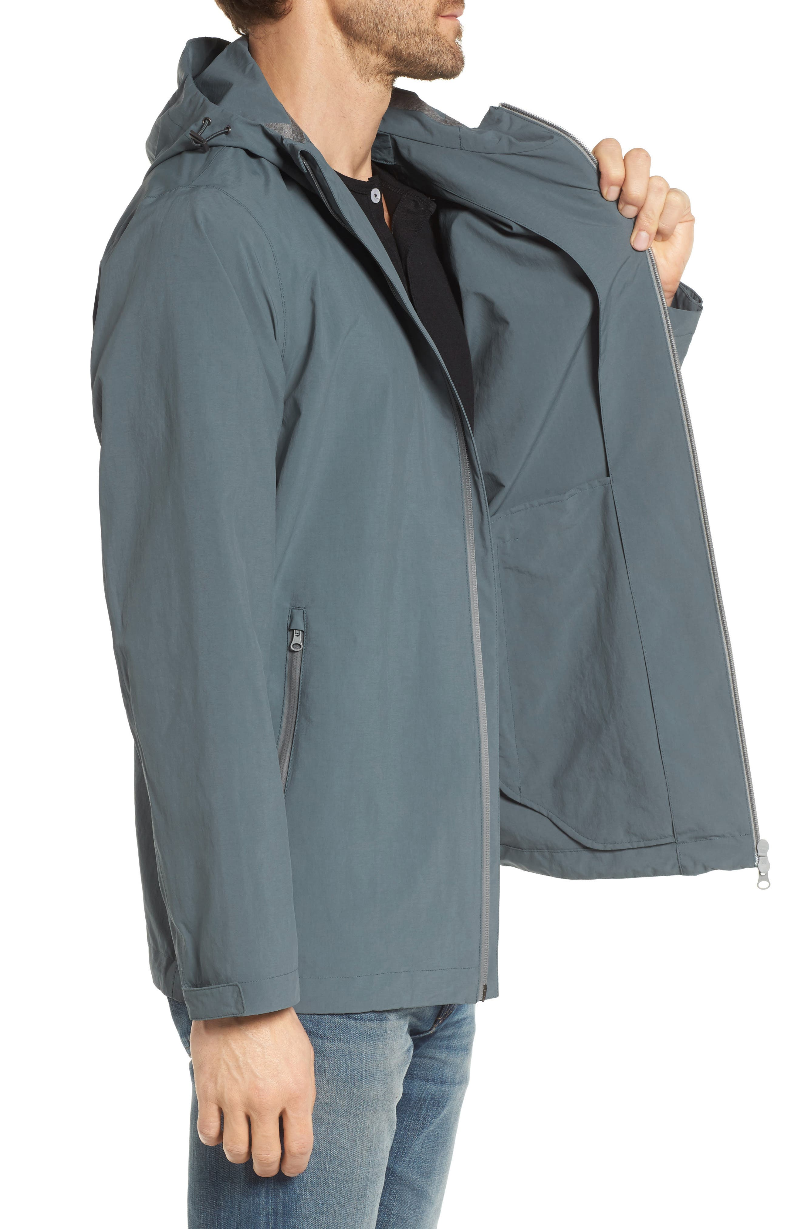 Plaster Hooded Raincoat,                             Alternate thumbnail 3, color,                             BLUE/ GREY
