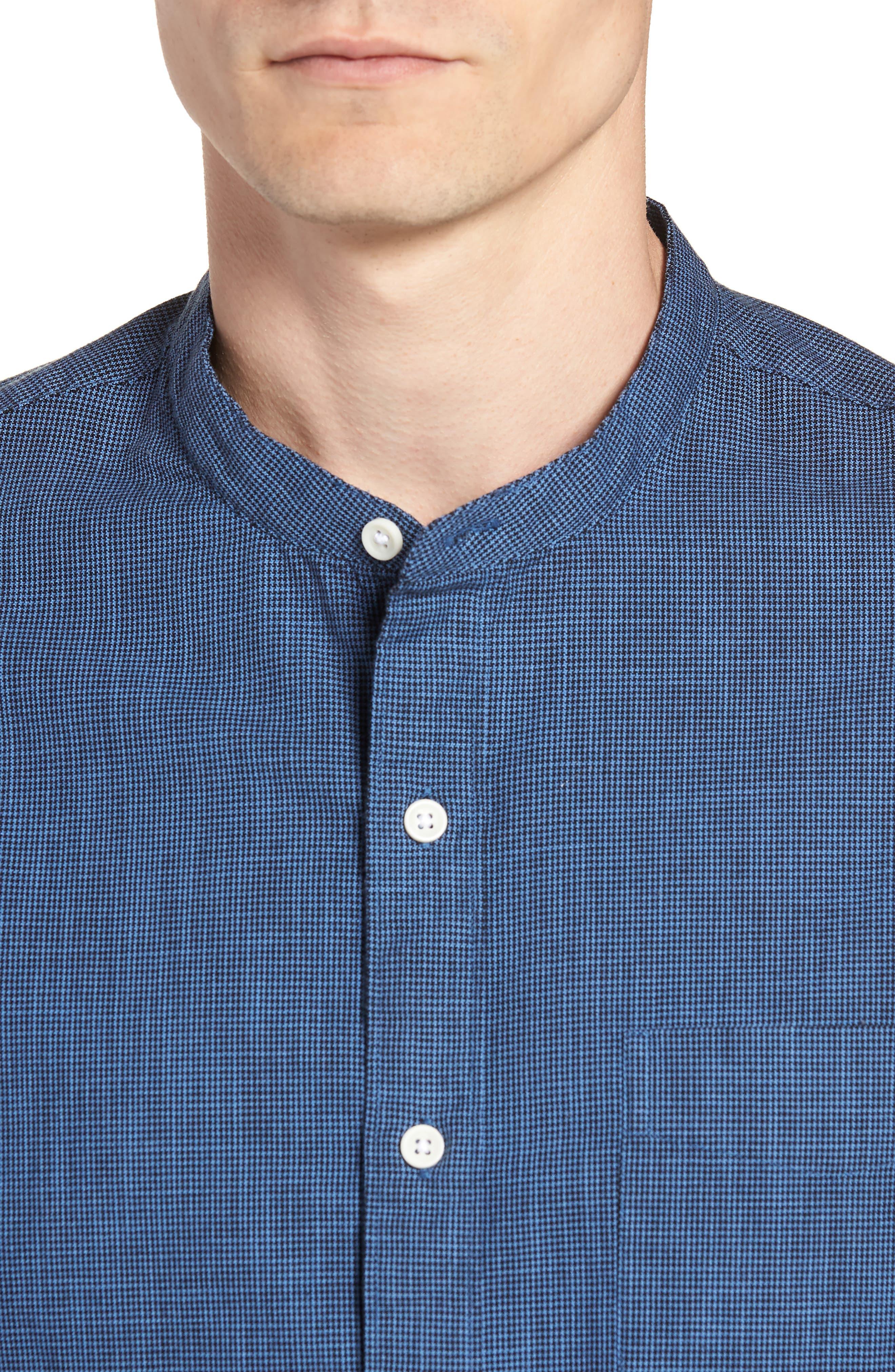Slim Fit Band Collar Shirt,                             Alternate thumbnail 4, color,                             DARK EVENING