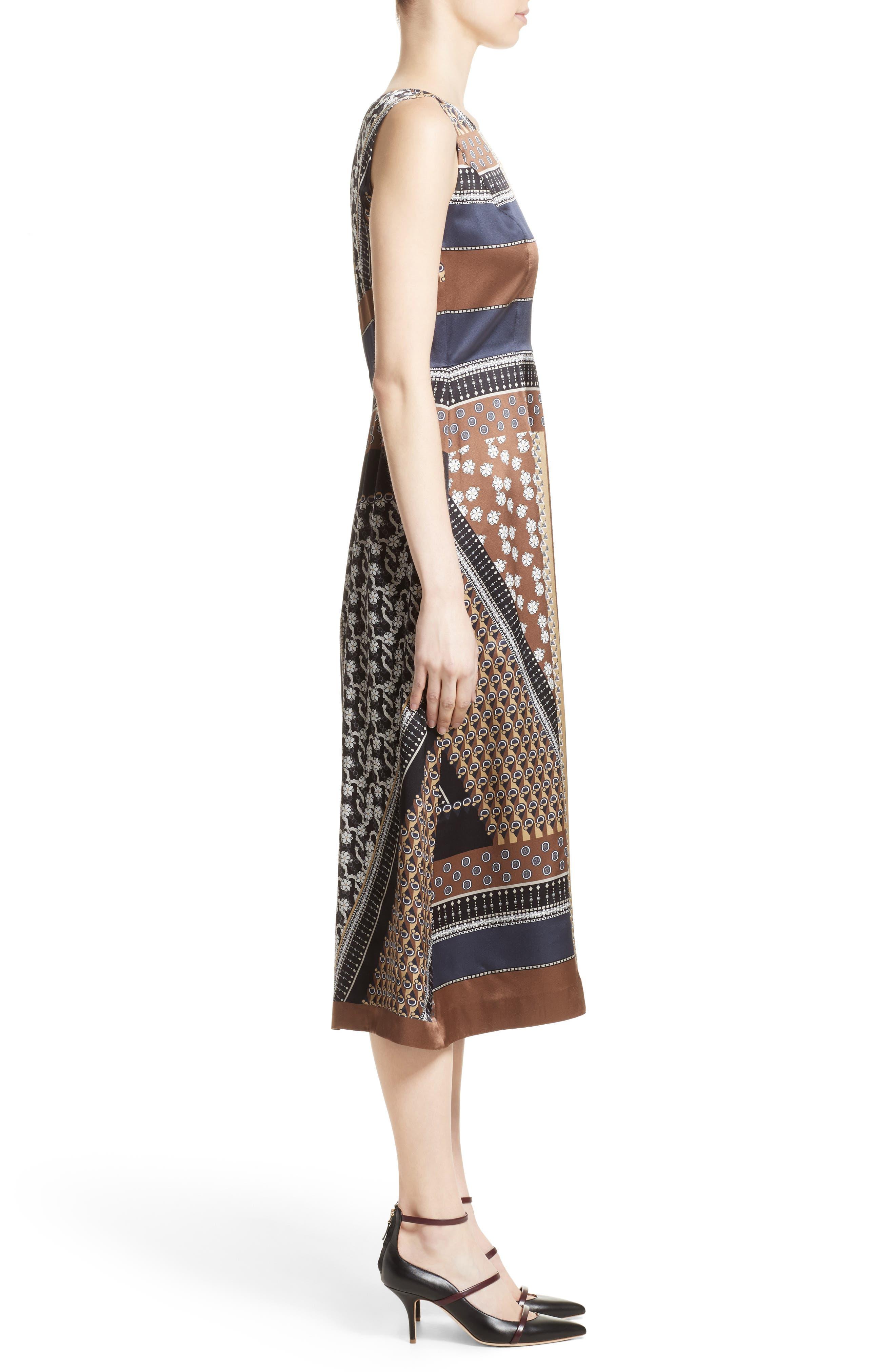 Sebella Silk Midi Dress,                             Alternate thumbnail 3, color,                             200