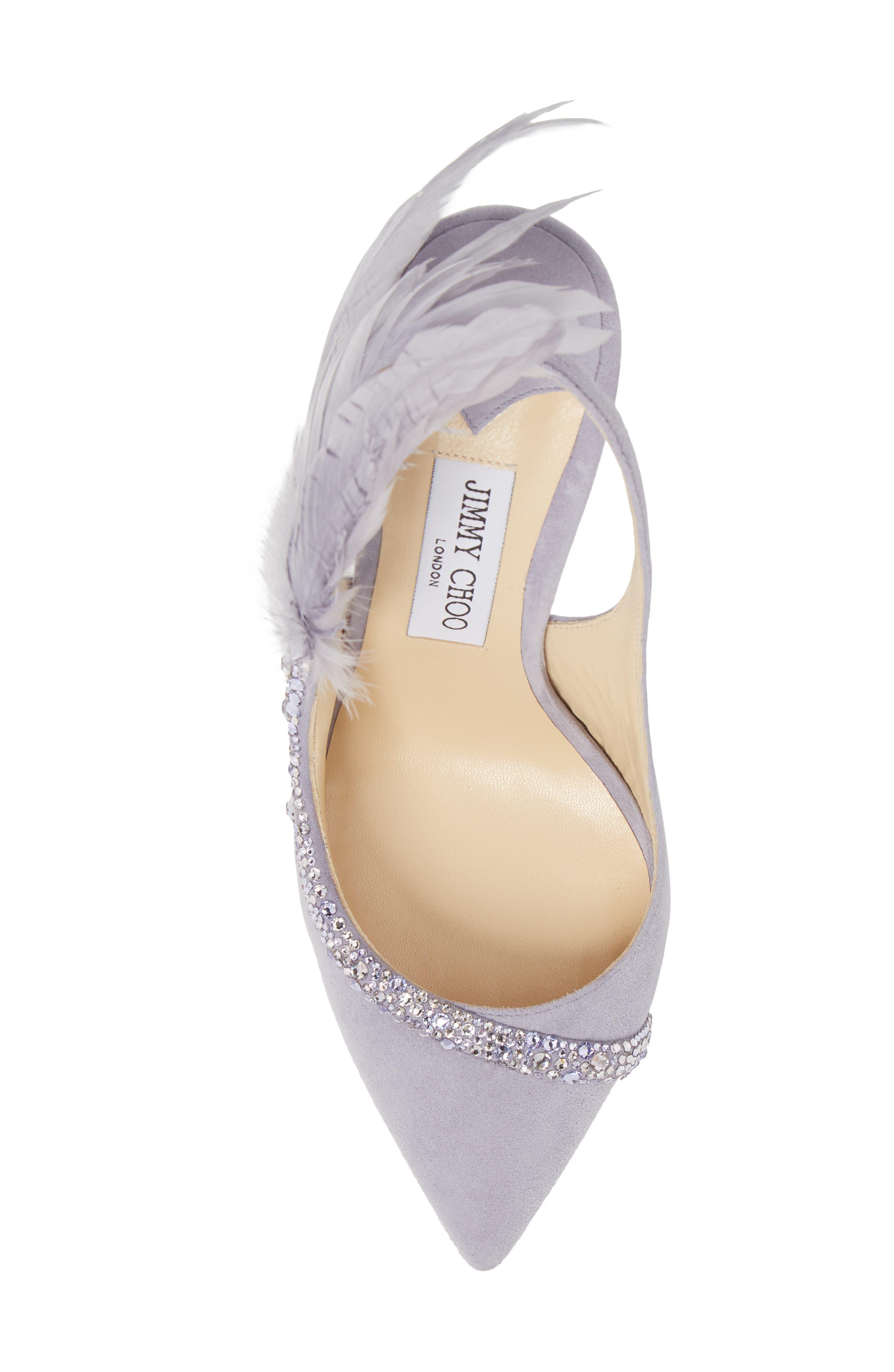 Tacey Crystal & Feather Embellished Slingback Sandal,                             Alternate thumbnail 5, color,                             530