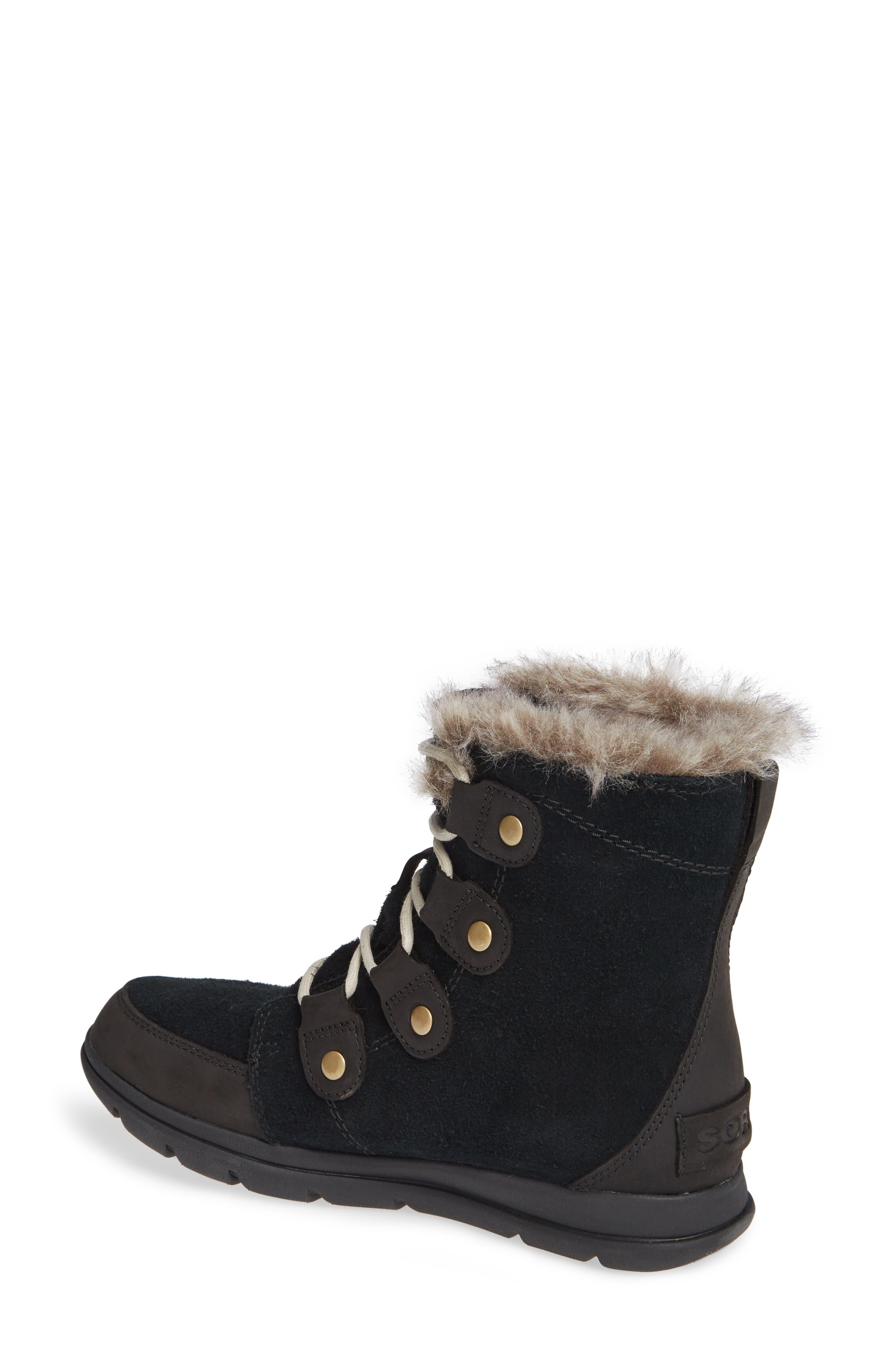 Explorer Joan Waterproof Boot with Faux Fur Collar,                             Alternate thumbnail 2, color,                             BLACK/ DARK STONE