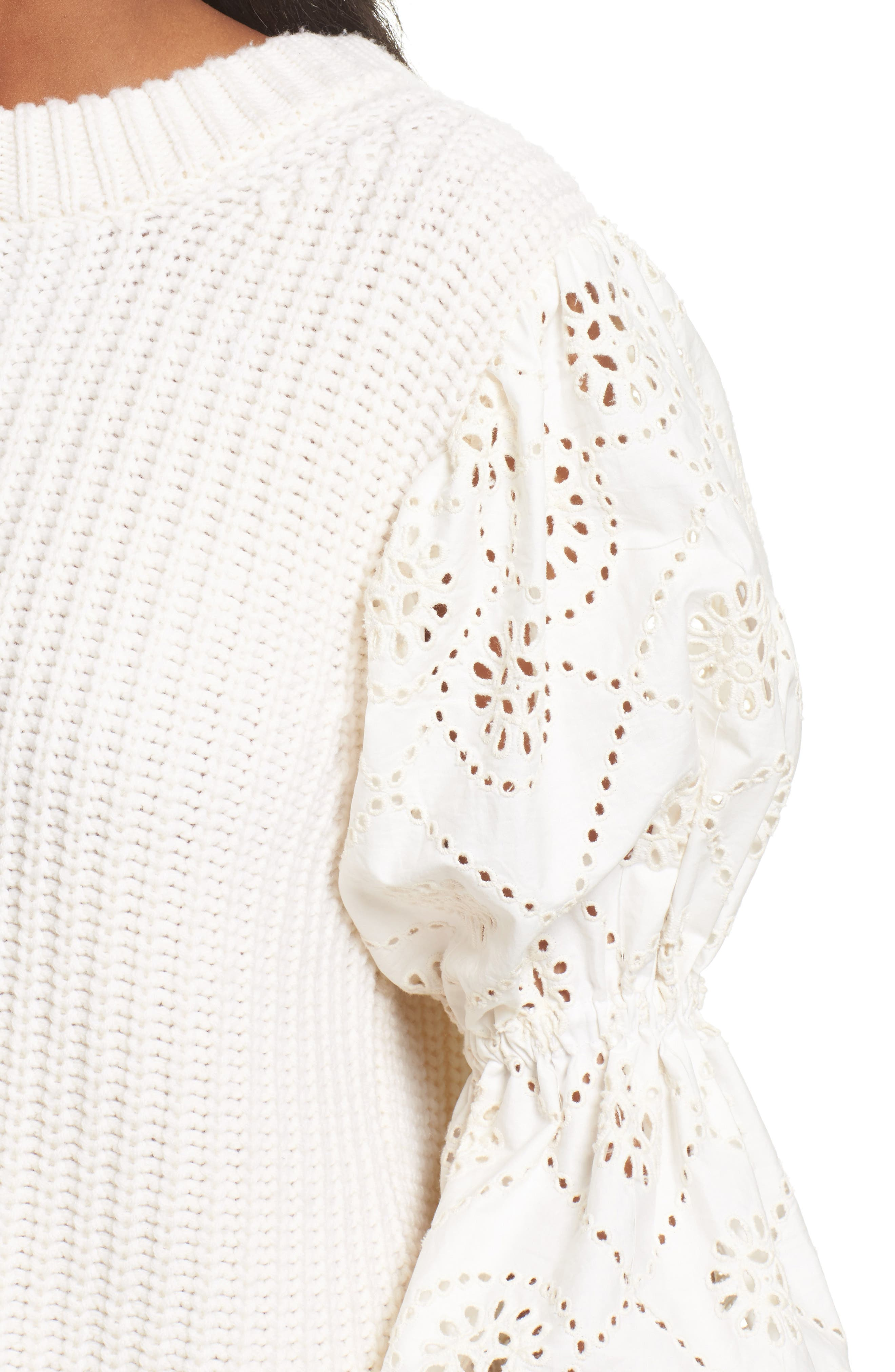 Eyelet Puff Sleeve Sweater,                             Alternate thumbnail 4, color,                             900