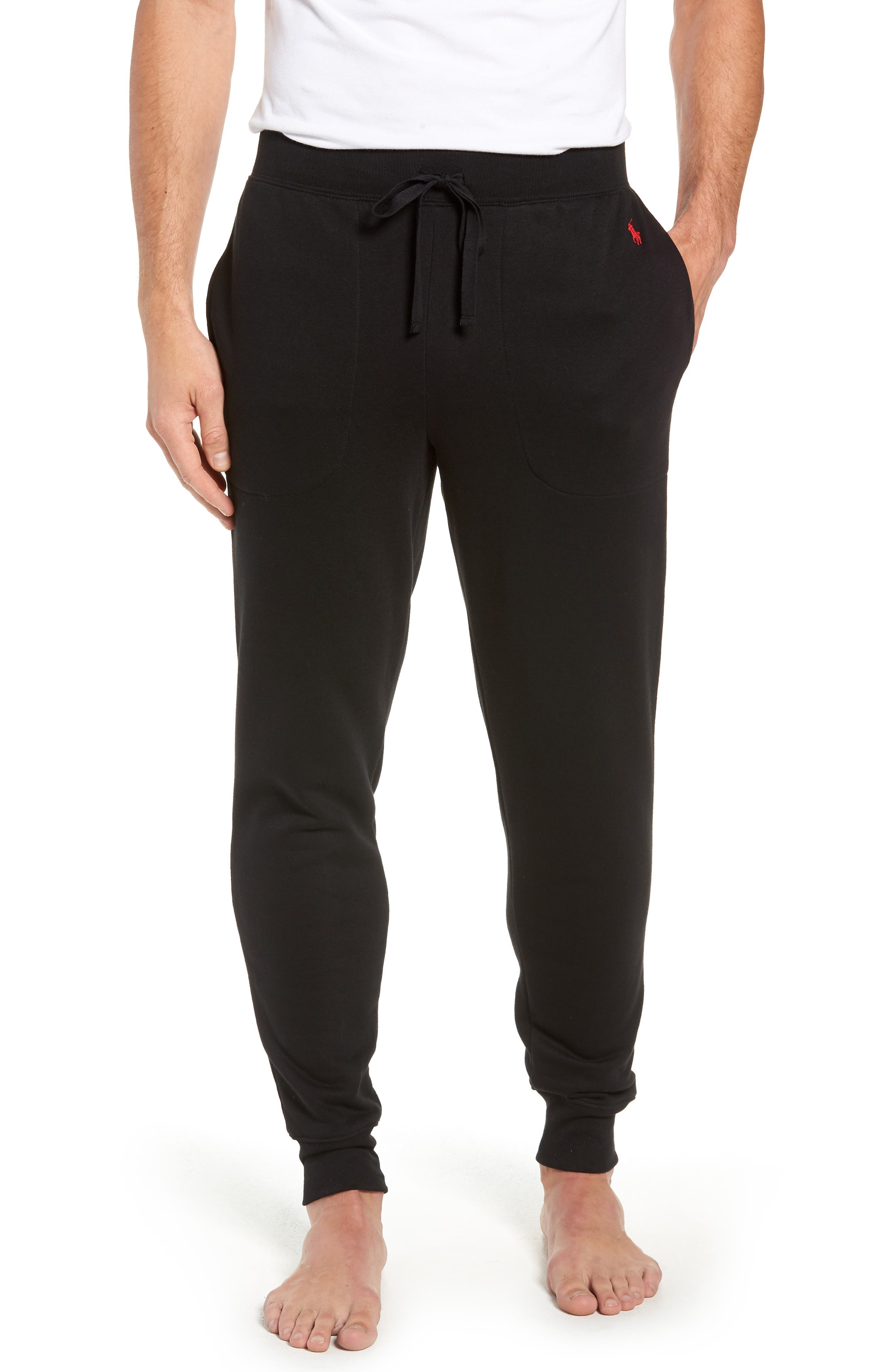 POLO RALPH LAUREN,                             Brushed Jersey Cotton Blend Jogger Pants,                             Main thumbnail 1, color,                             POLO BLACK