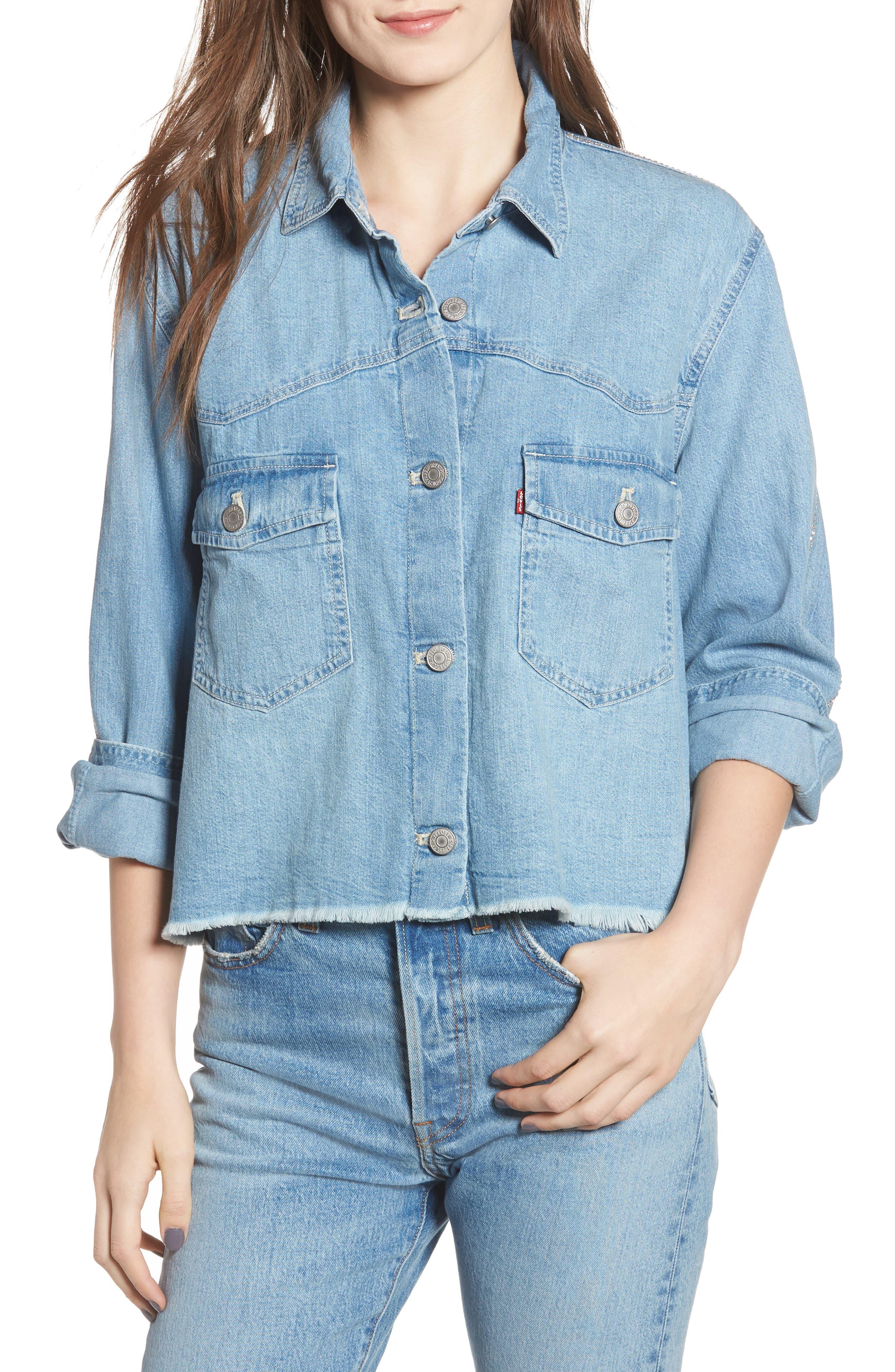 LEVI'S<SUP>®</SUP>,                             Addison Crop Denim Shirt,                             Main thumbnail 1, color,                             400