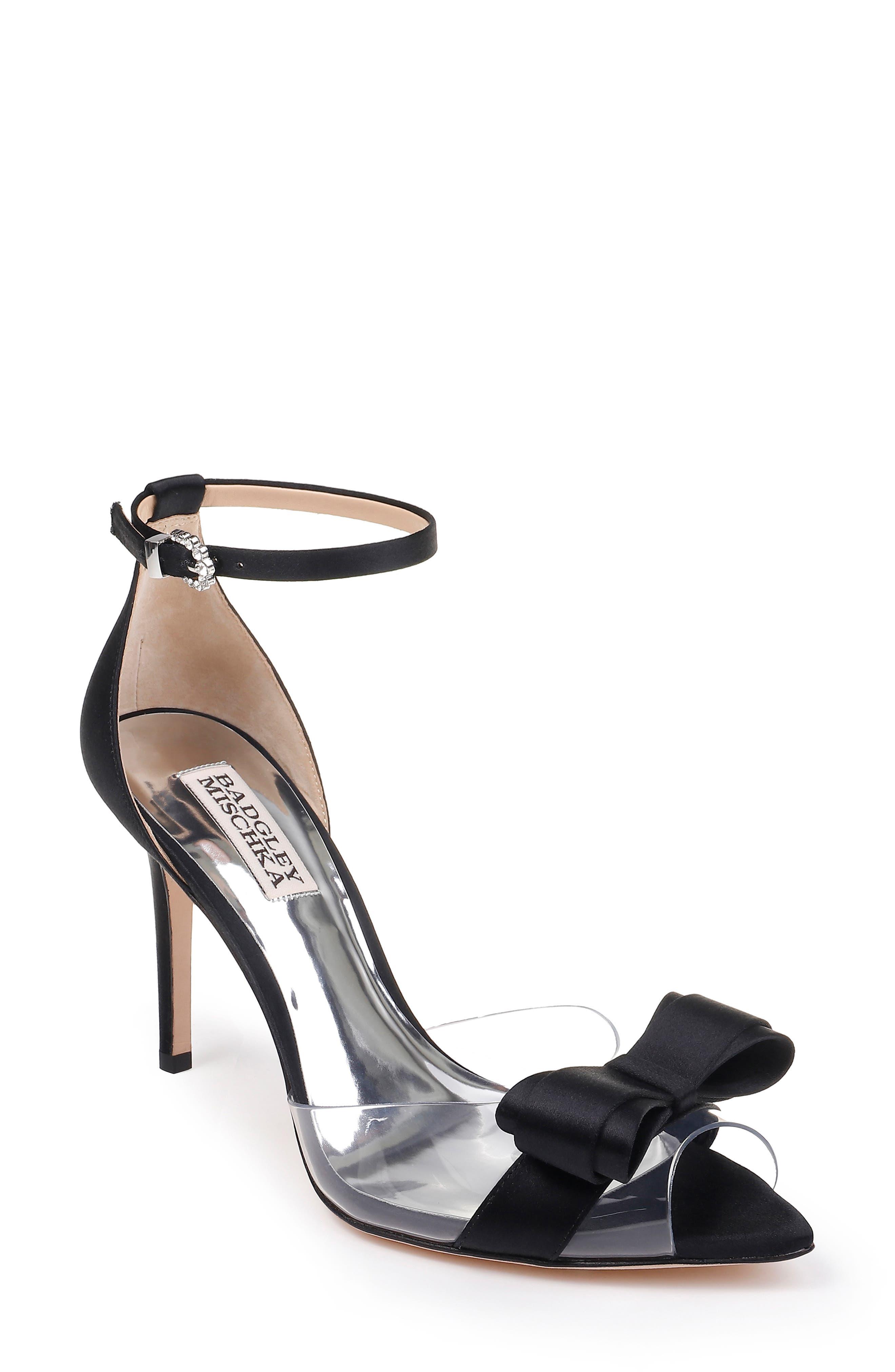BADGLEY MISCHKA COLLECTION,                             Badgley Mischka Lindsay Ankle Strap Sandal,                             Main thumbnail 1, color,                             BLACK SATIN