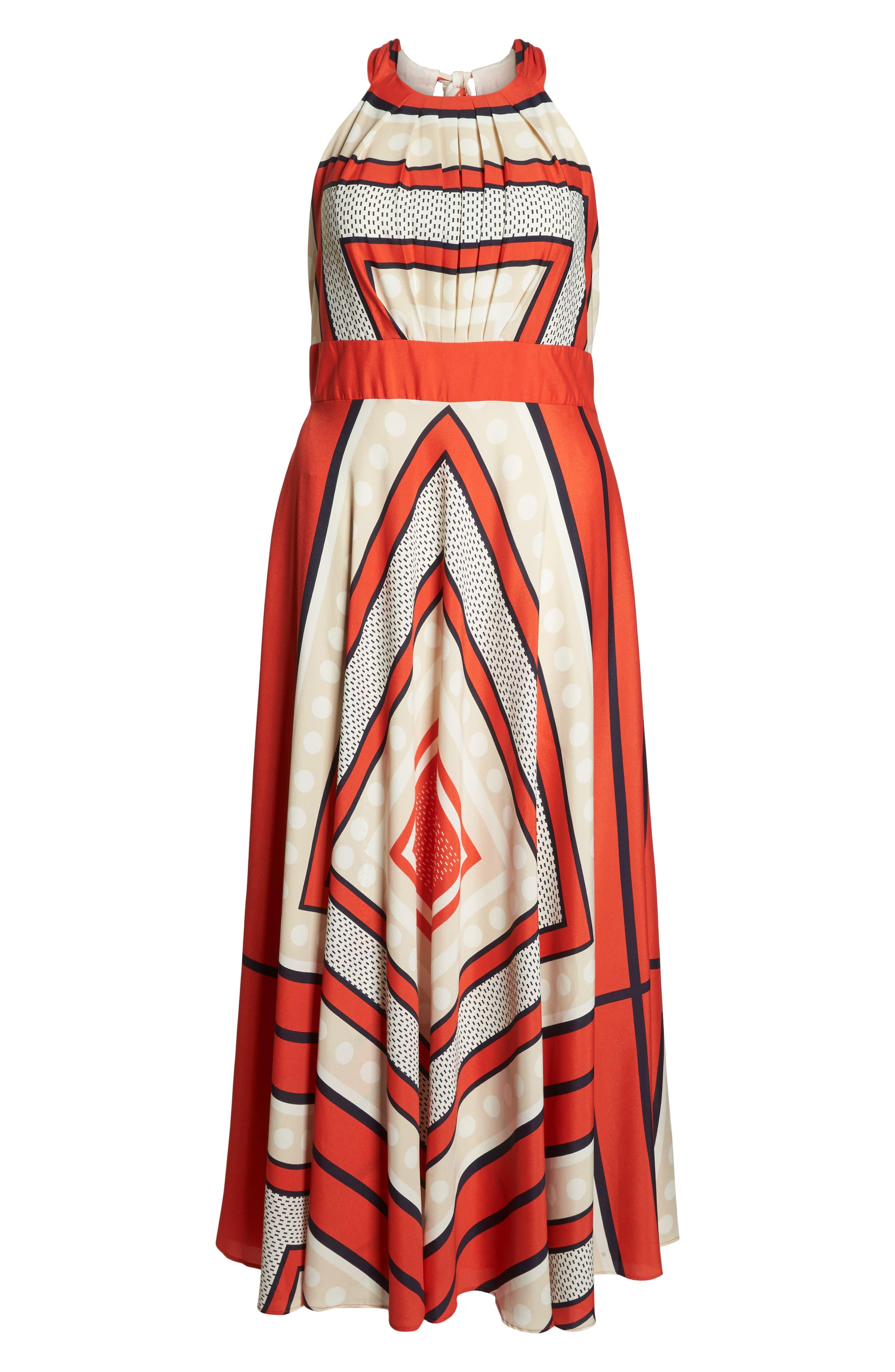 ELIZA J,                             Halter Scarf Print Woven Maxi Dress,                             Alternate thumbnail 7, color,                             PRINT
