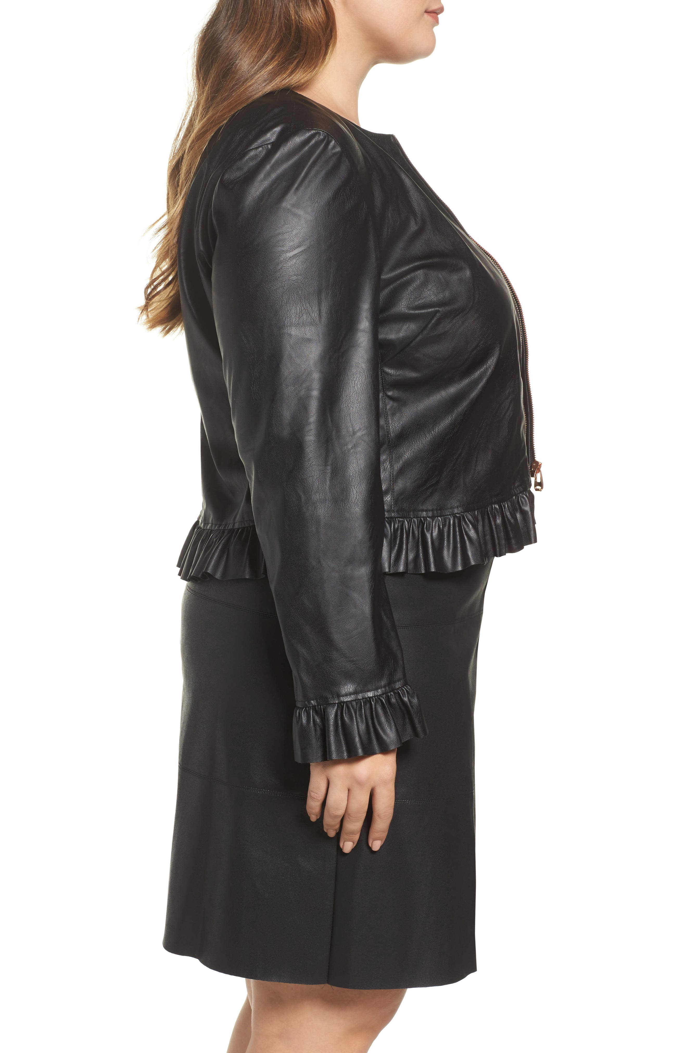 Faux Leather Frill Jacket,                             Alternate thumbnail 3, color,                             001