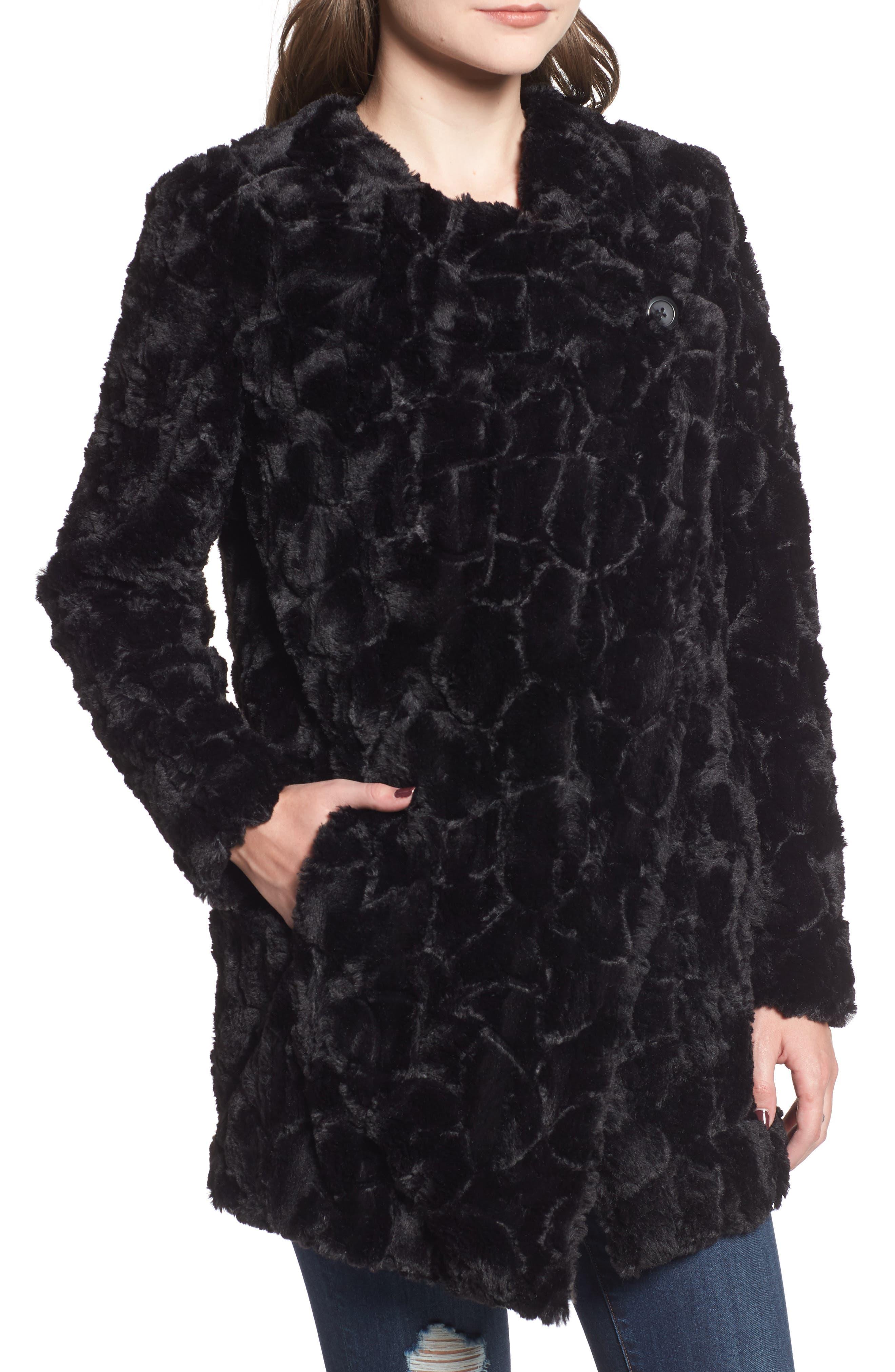 Tucker Wubby Faux Fur Coat,                             Alternate thumbnail 4, color,                             001