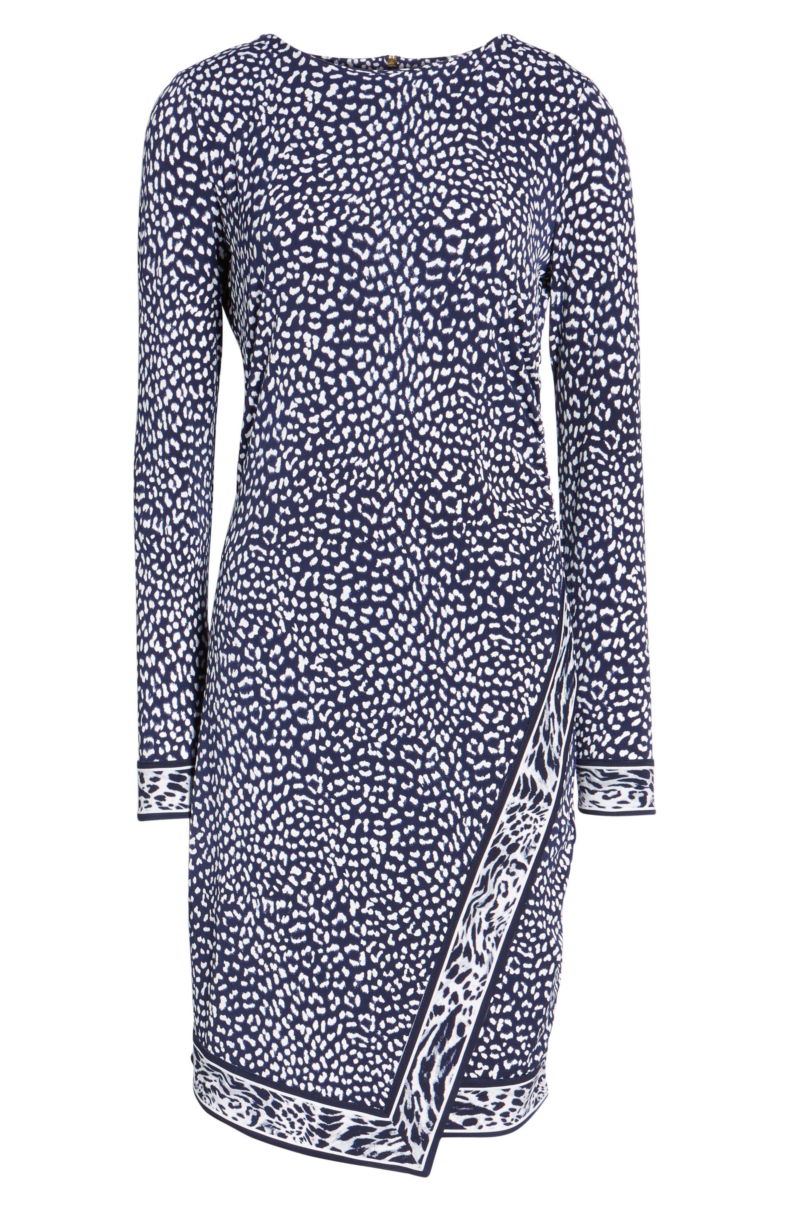 Cheetah Border Print Sheath Dress,                             Alternate thumbnail 6, color,                             456