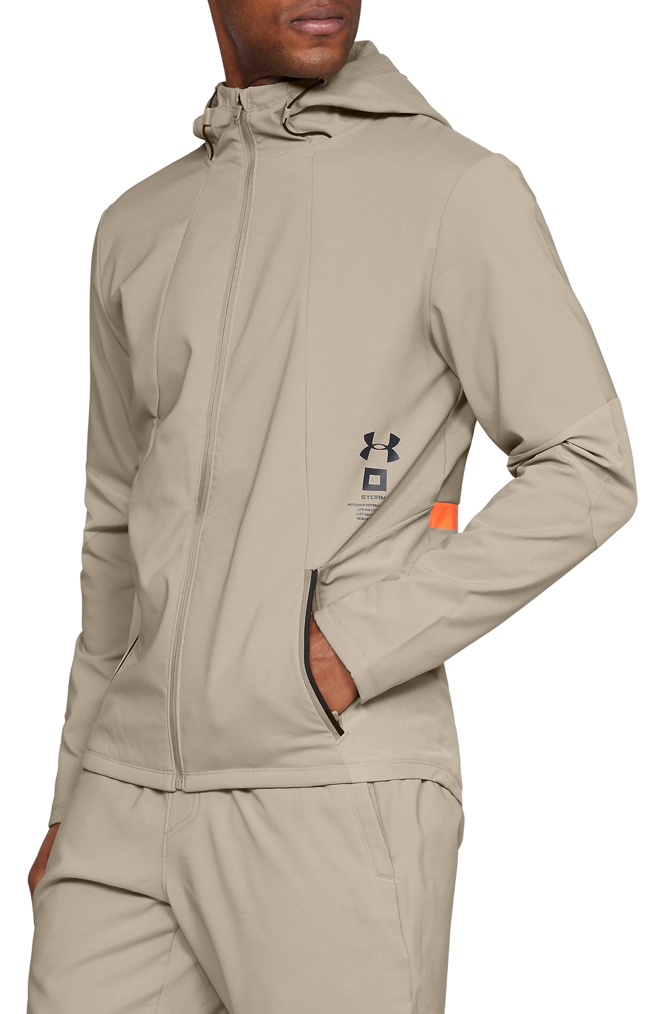 Storm Cyclone Water Repellent Hooded Jacket, Main, color, CITY KHAKI/ BLACK