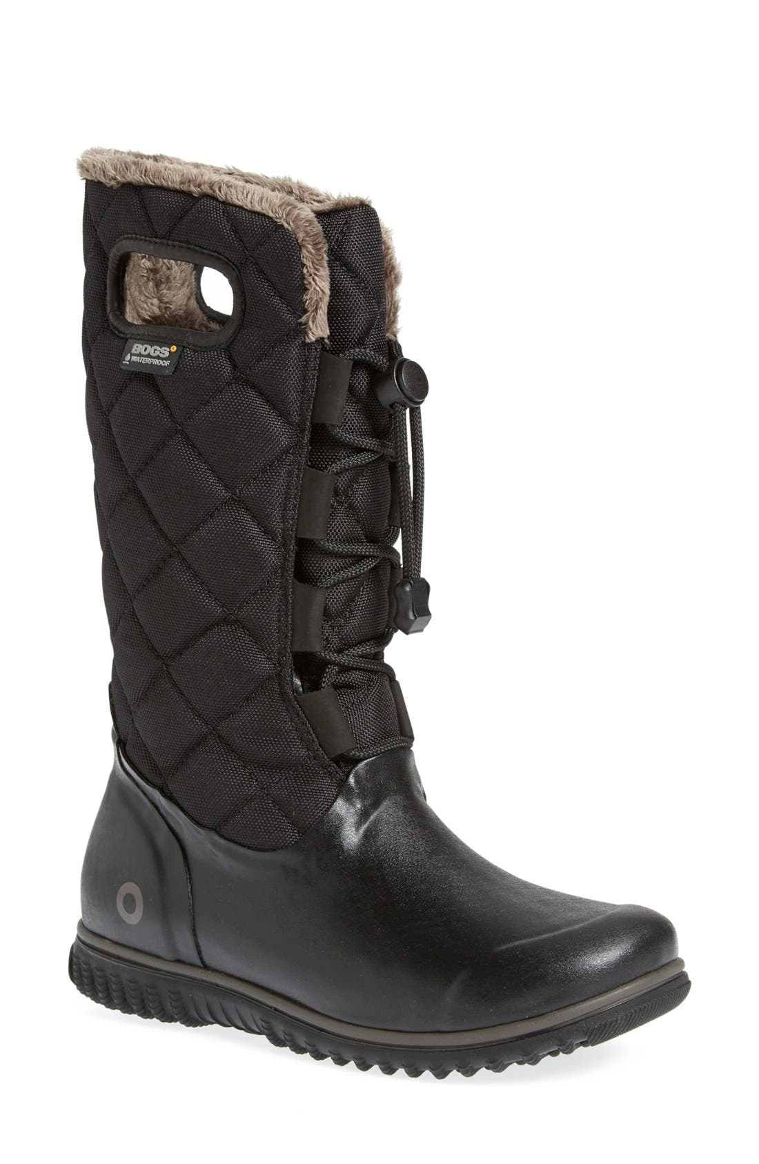 'June' Lace High Waterproof Quilted Boot,                             Main thumbnail 1, color,                             001