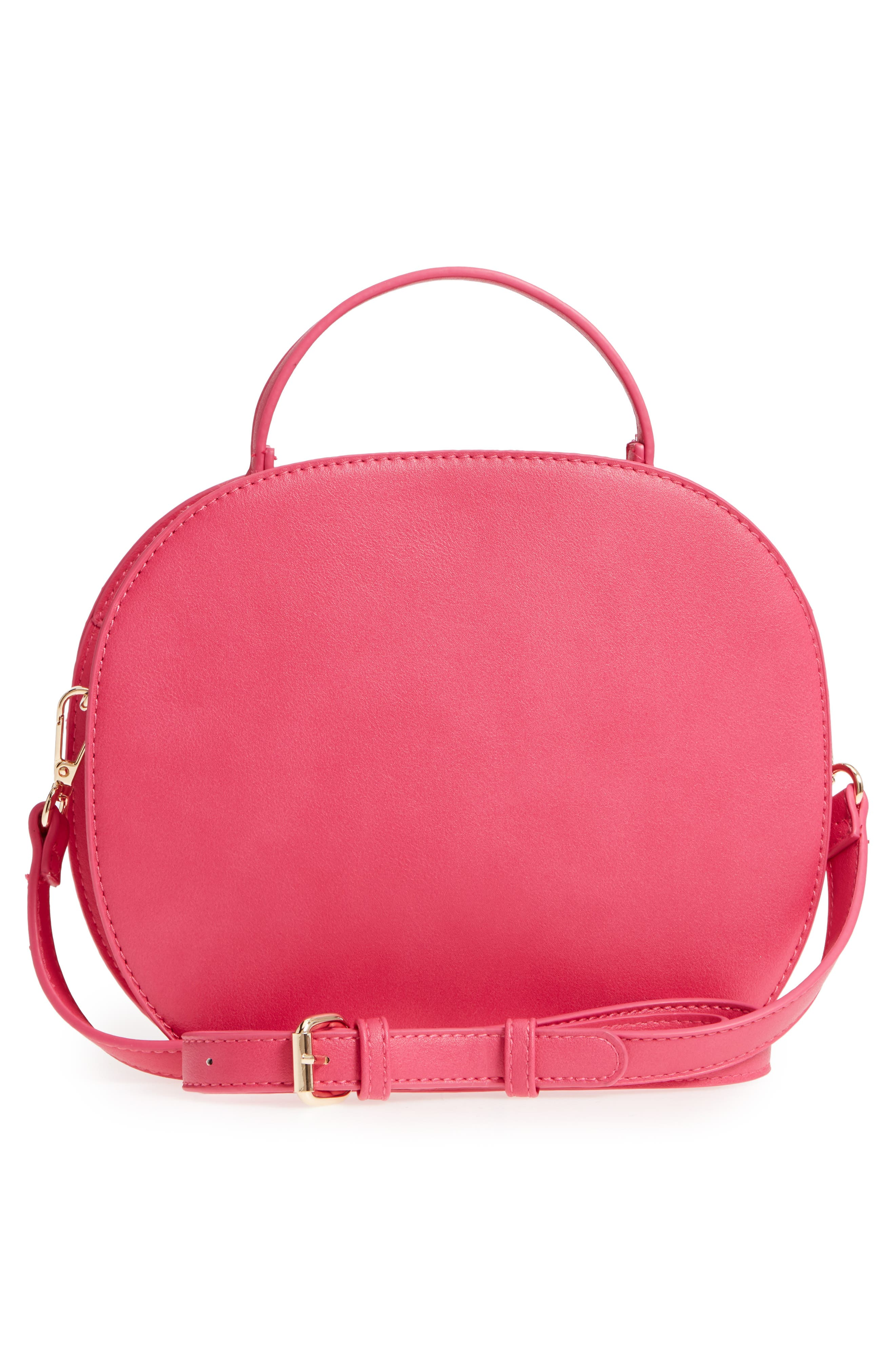 Oval Canteen Faux Leather Satchel,                             Alternate thumbnail 6, color,
