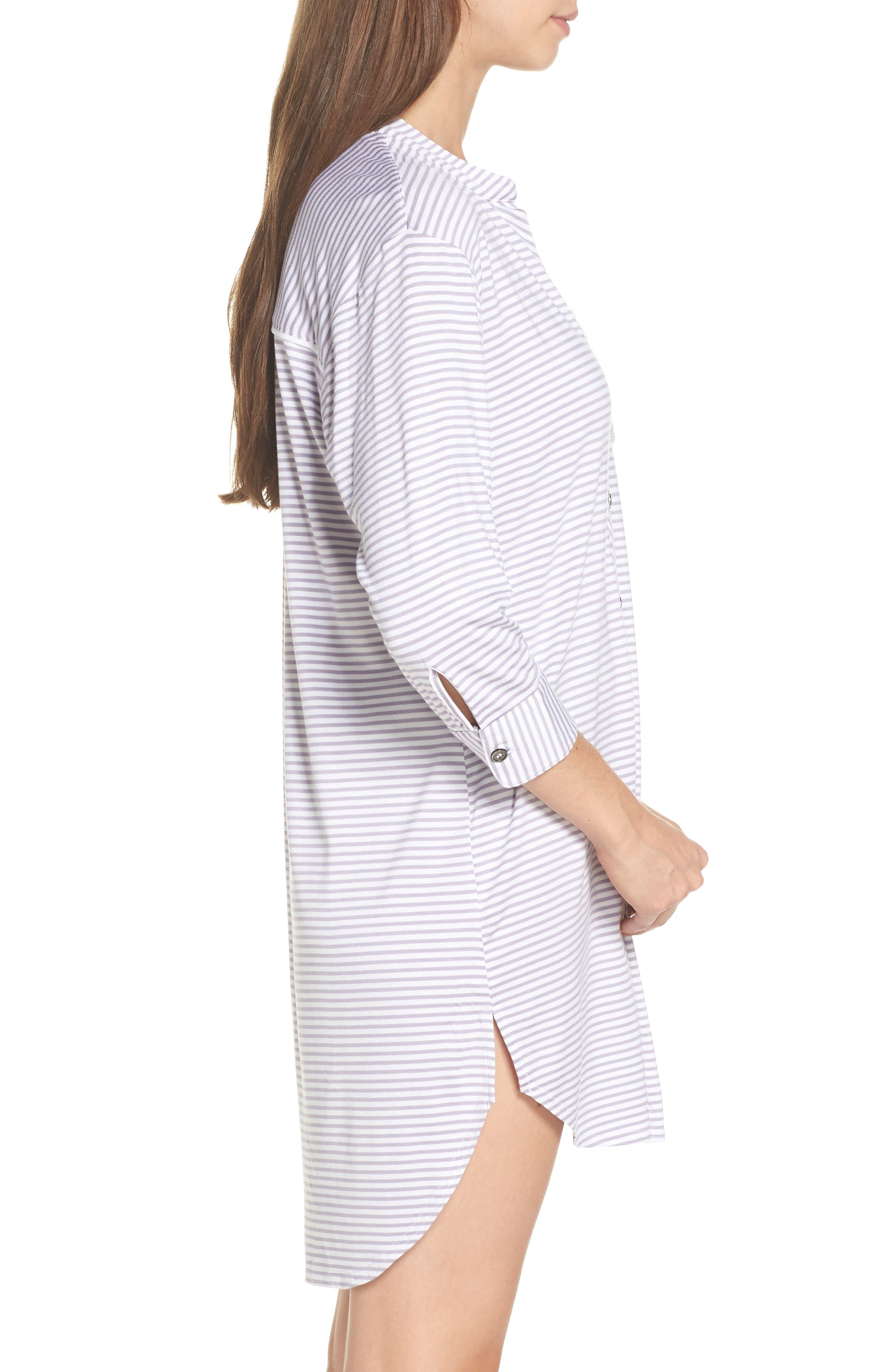 Vivian Sleep Shirt,                             Alternate thumbnail 3, color,                             LAVENDER AURA / WHITE STRIPE
