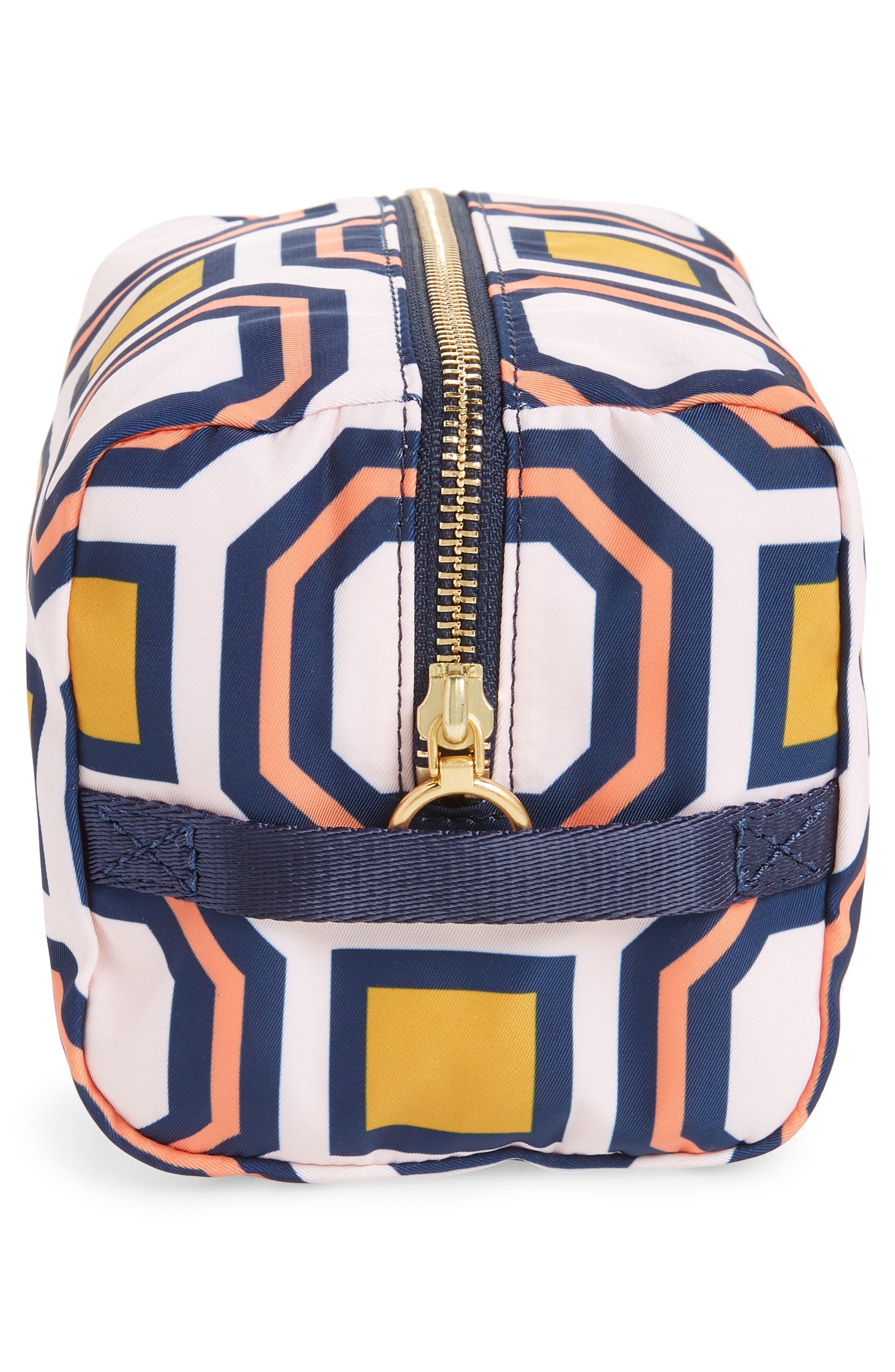 Octagon Print Medium Cosmetics Bag,                             Alternate thumbnail 4, color,