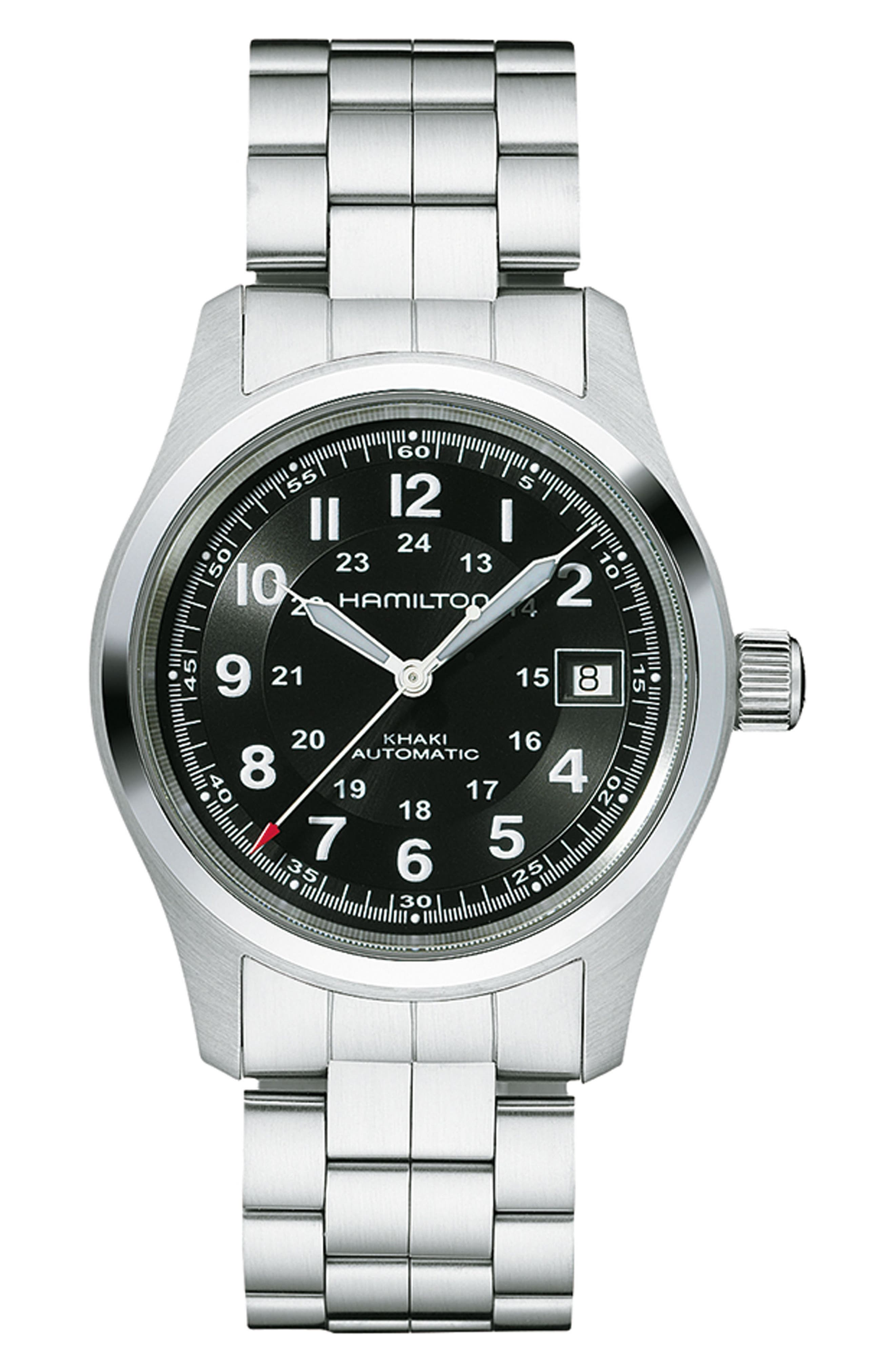 Khaki Field Automatic Bracelet Watch, 38mm,                             Main thumbnail 1, color,                             SILVER/ BLACK/ SILVER