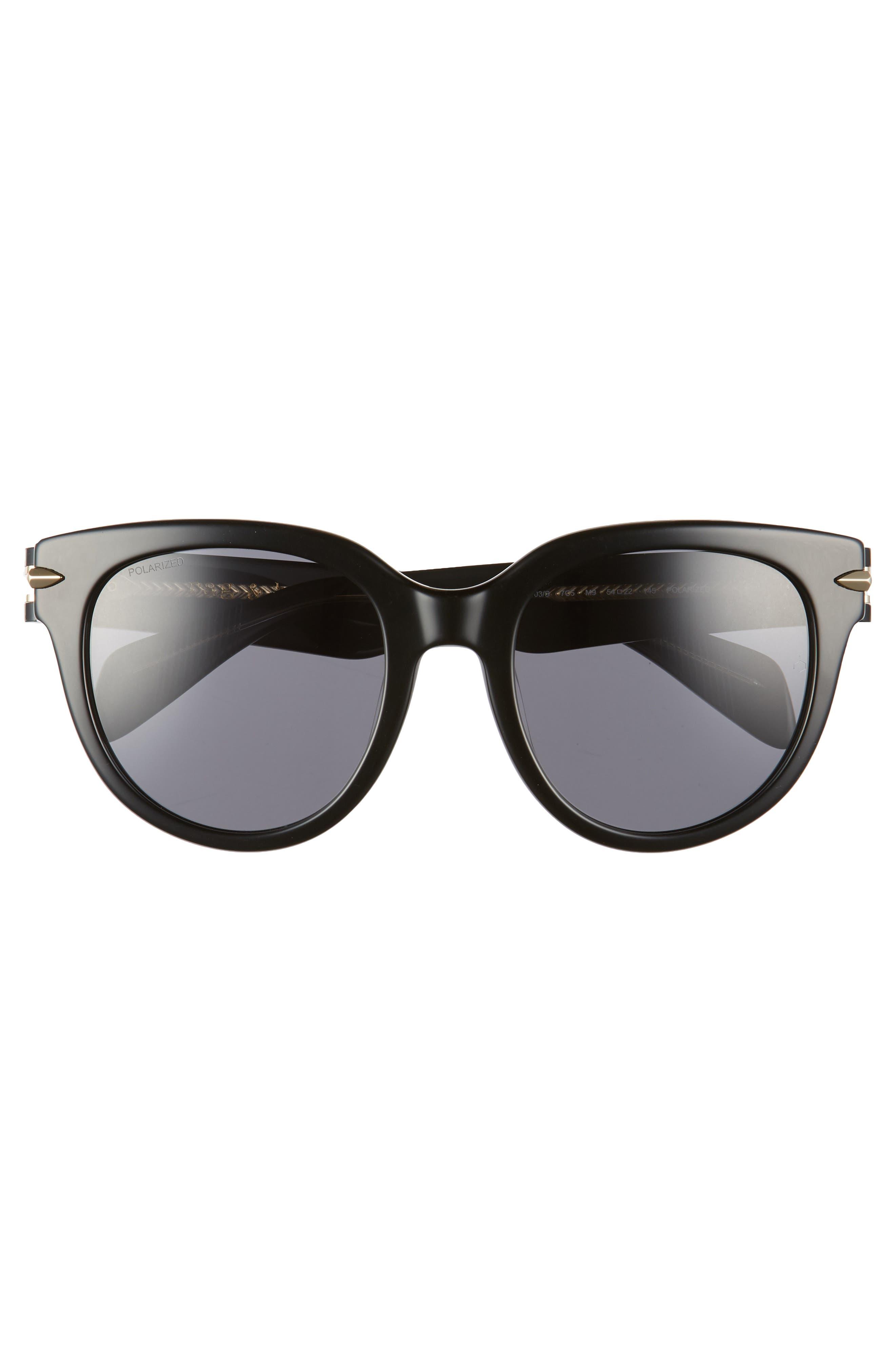 54mm Round Sunglasses,                             Alternate thumbnail 3, color,                             BLACK/ CRYSTAL