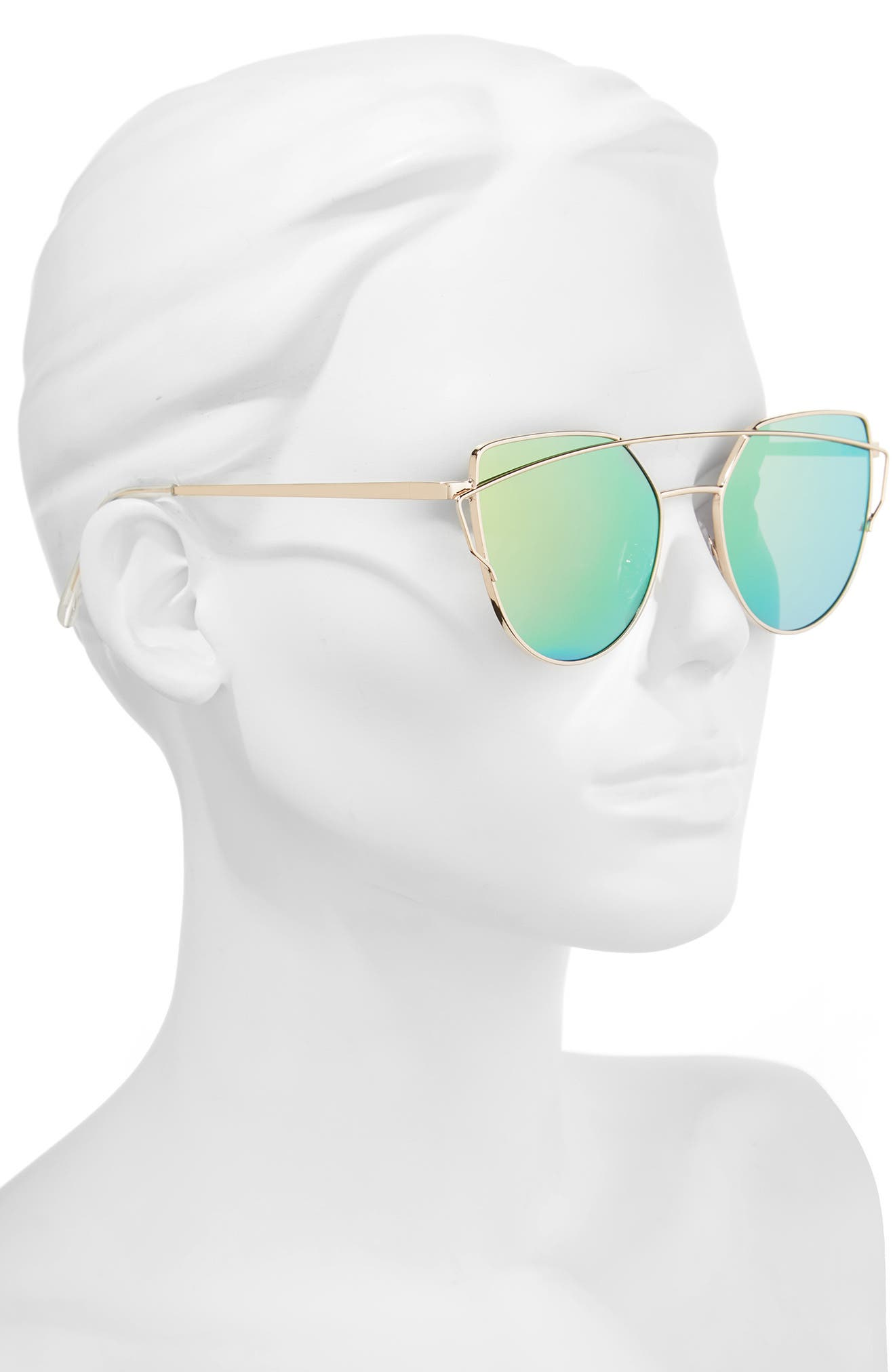 51mm Thin Brow Angular Aviator Sunglasses,                             Alternate thumbnail 14, color,