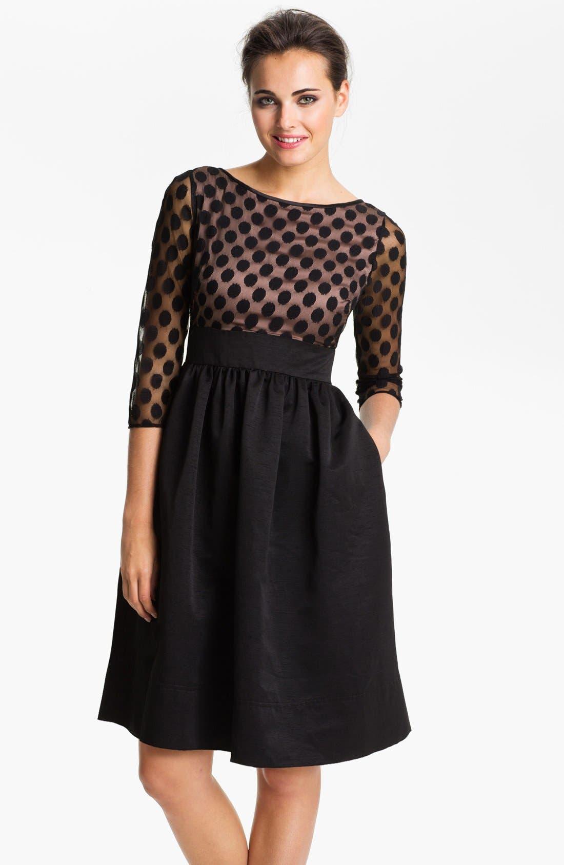 Dot Mesh Bodice Fit & Flare Dress,                             Main thumbnail 1, color,