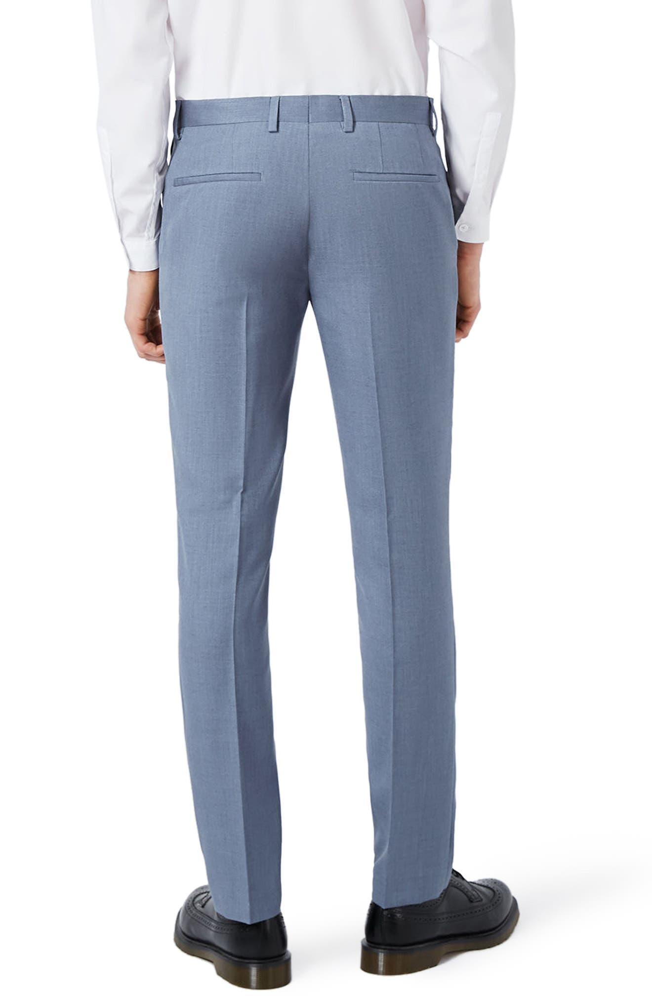Skinny Fit Crosshatch Trousers,                             Alternate thumbnail 4, color,
