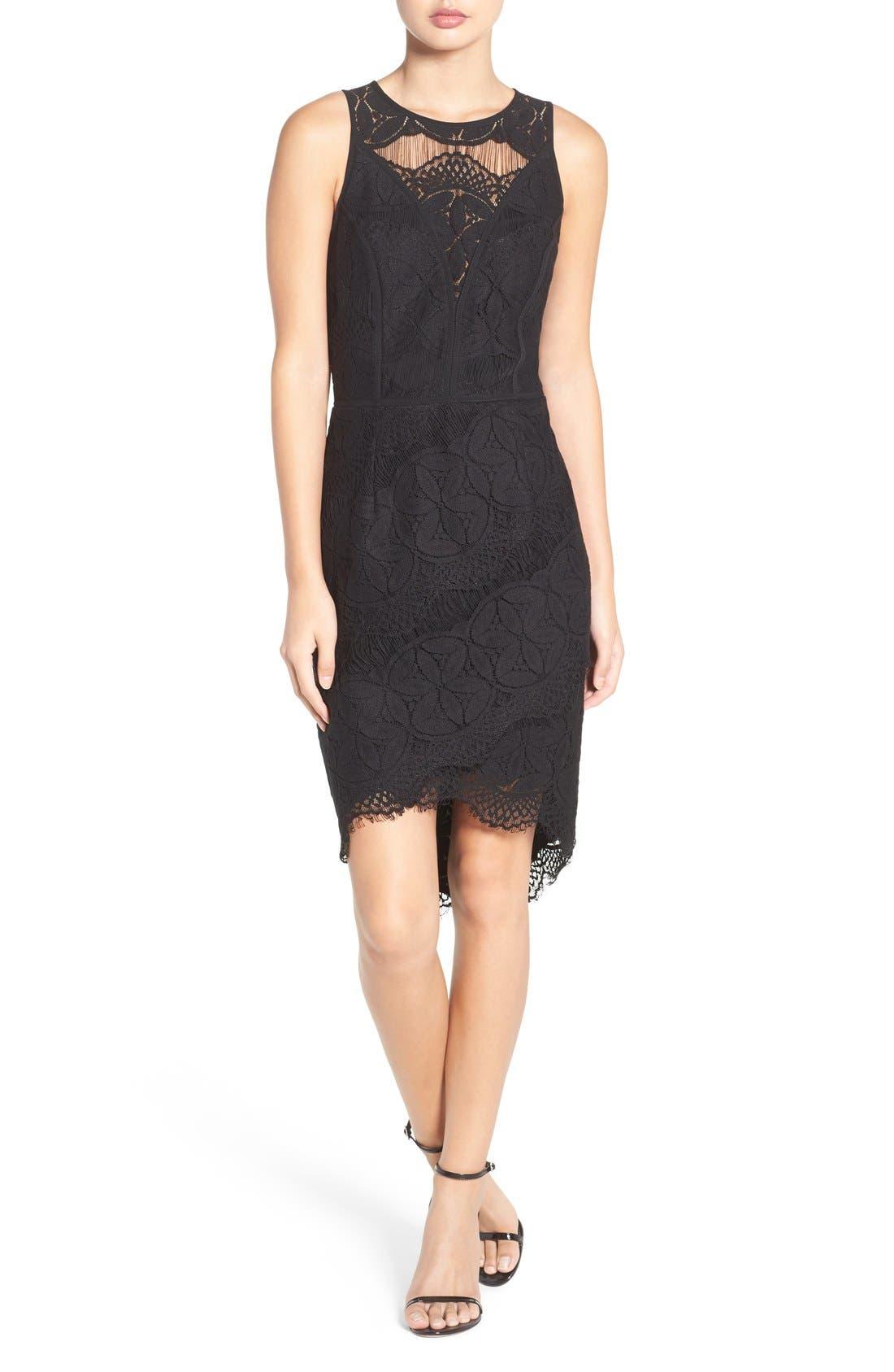 Lace High/Low Sheath Dress,                             Alternate thumbnail 28, color,
