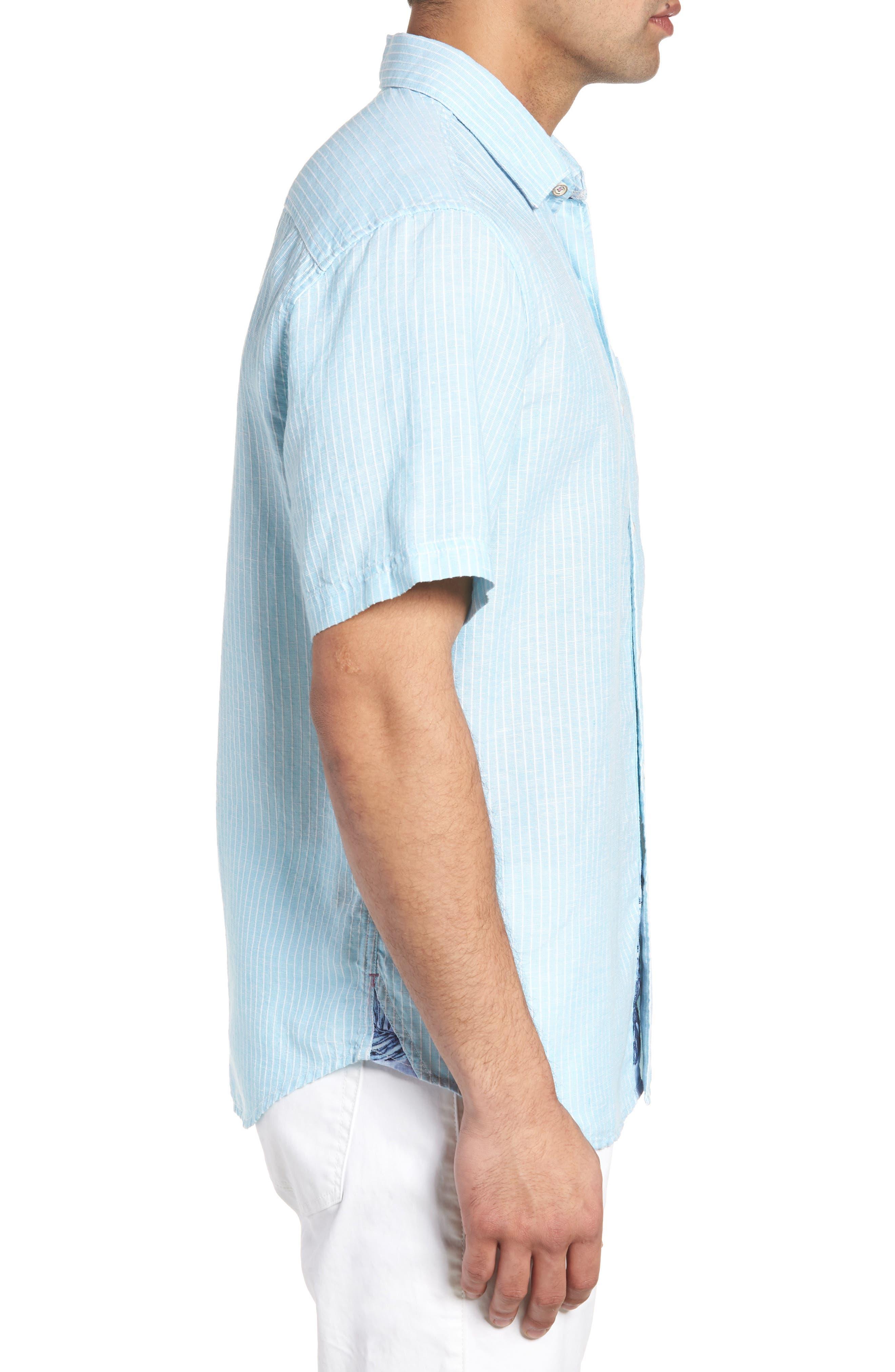 Sand Linen Dobby Stripe Sport Shirt,                             Alternate thumbnail 3, color,                             BLUE RADIANCE