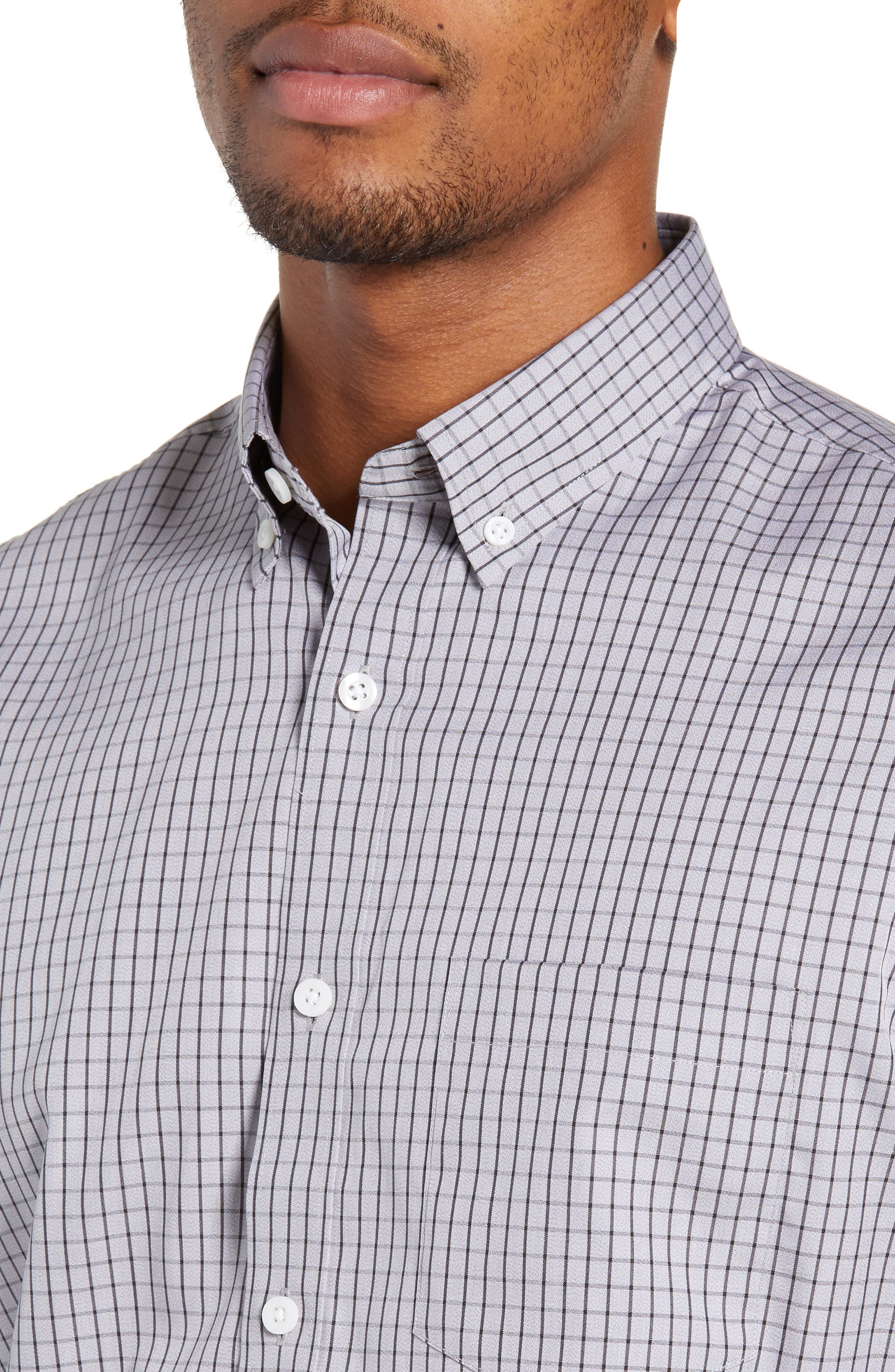 NORDSTROM MEN'S SHOP,                             Trim Fit Non-Iron Check Sport Shirt,                             Alternate thumbnail 2, color,                             GREY FILIGREE MINIGRID