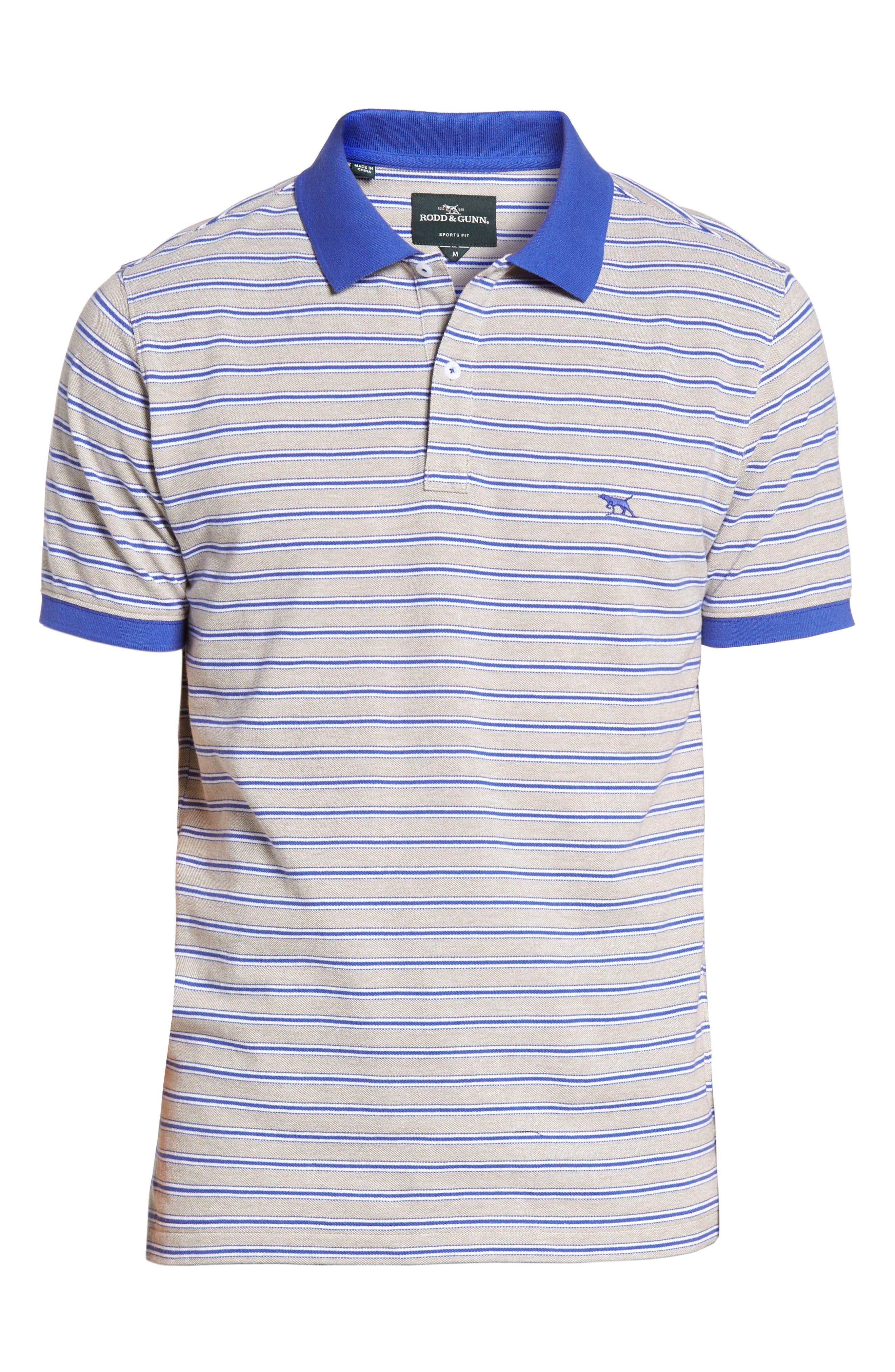 Kempthorne Sports Fit Stripe Piqué Polo,                             Alternate thumbnail 6, color,                             423