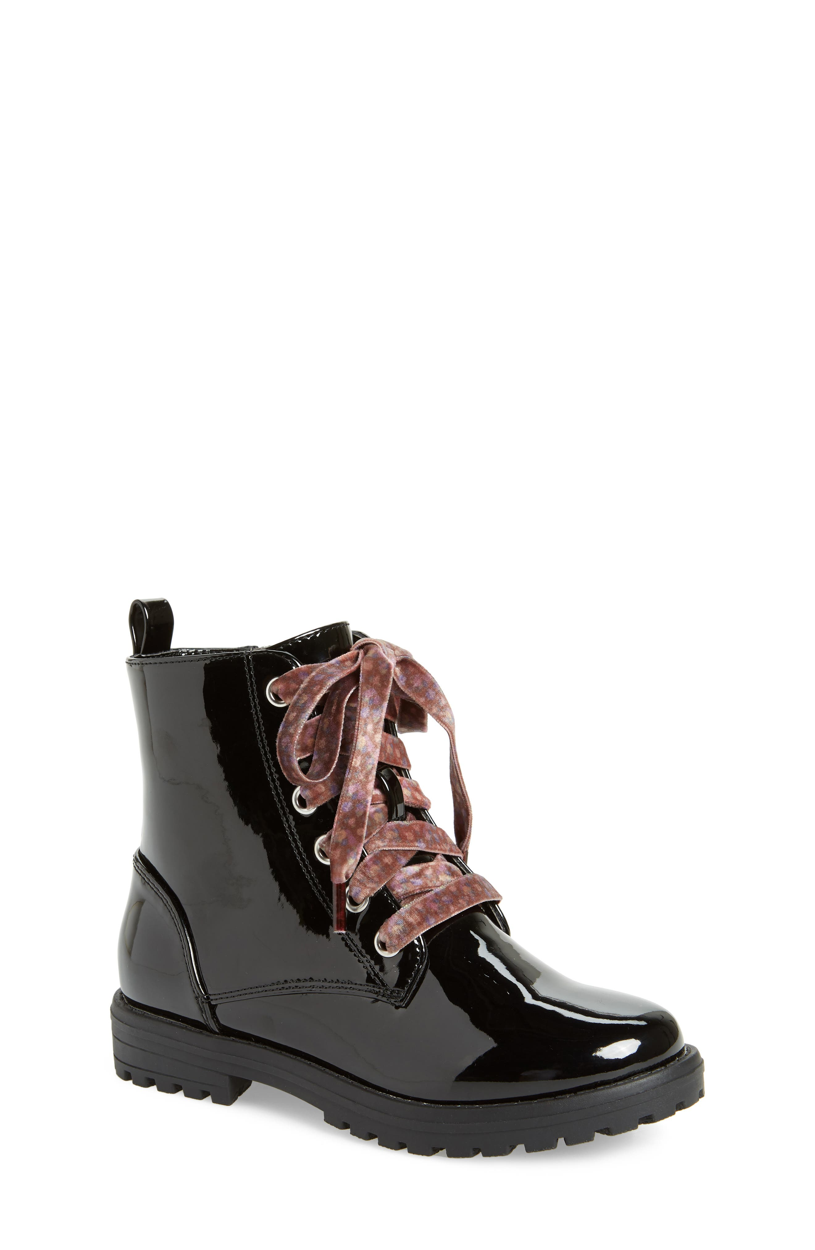 Bristol Hiking Boot,                         Main,                         color, BLACK PATENT FAUX LEATHER