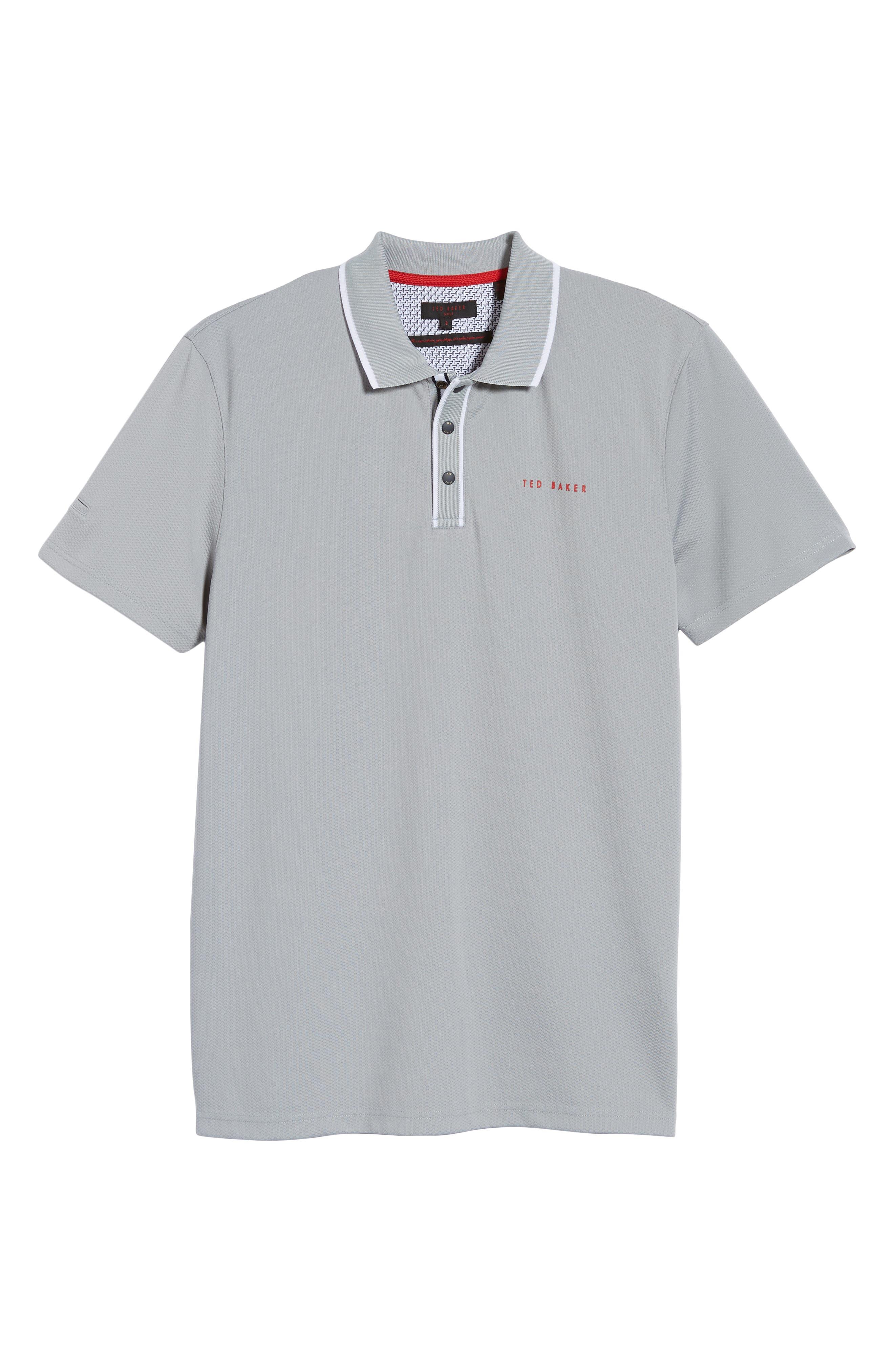 TED BAKER LONDON,                             Bunka Trim Fit Golf Polo,                             Alternate thumbnail 6, color,                             LT-GREY