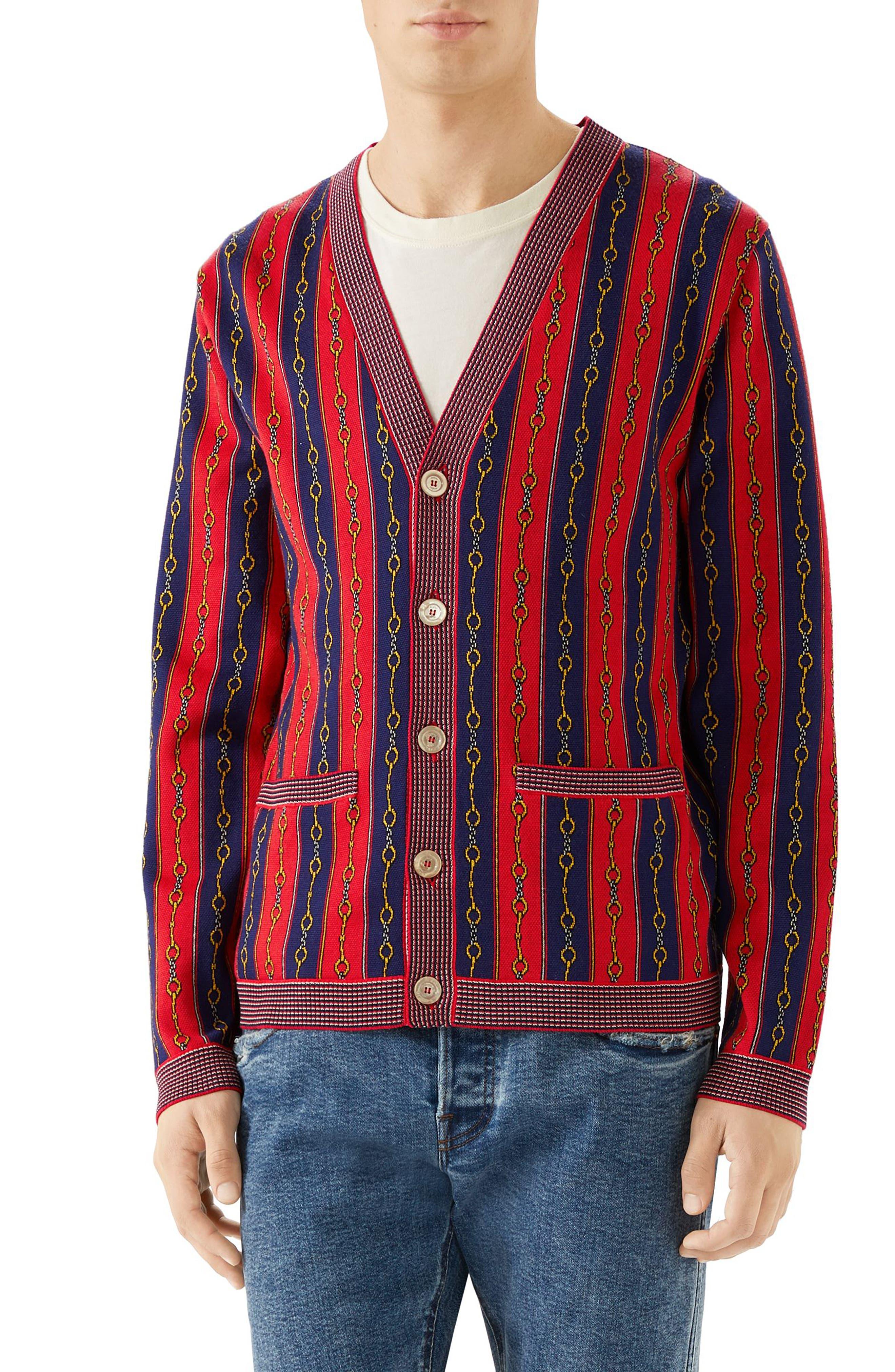 Gucci Horsebit Stripe Cardigan, Red