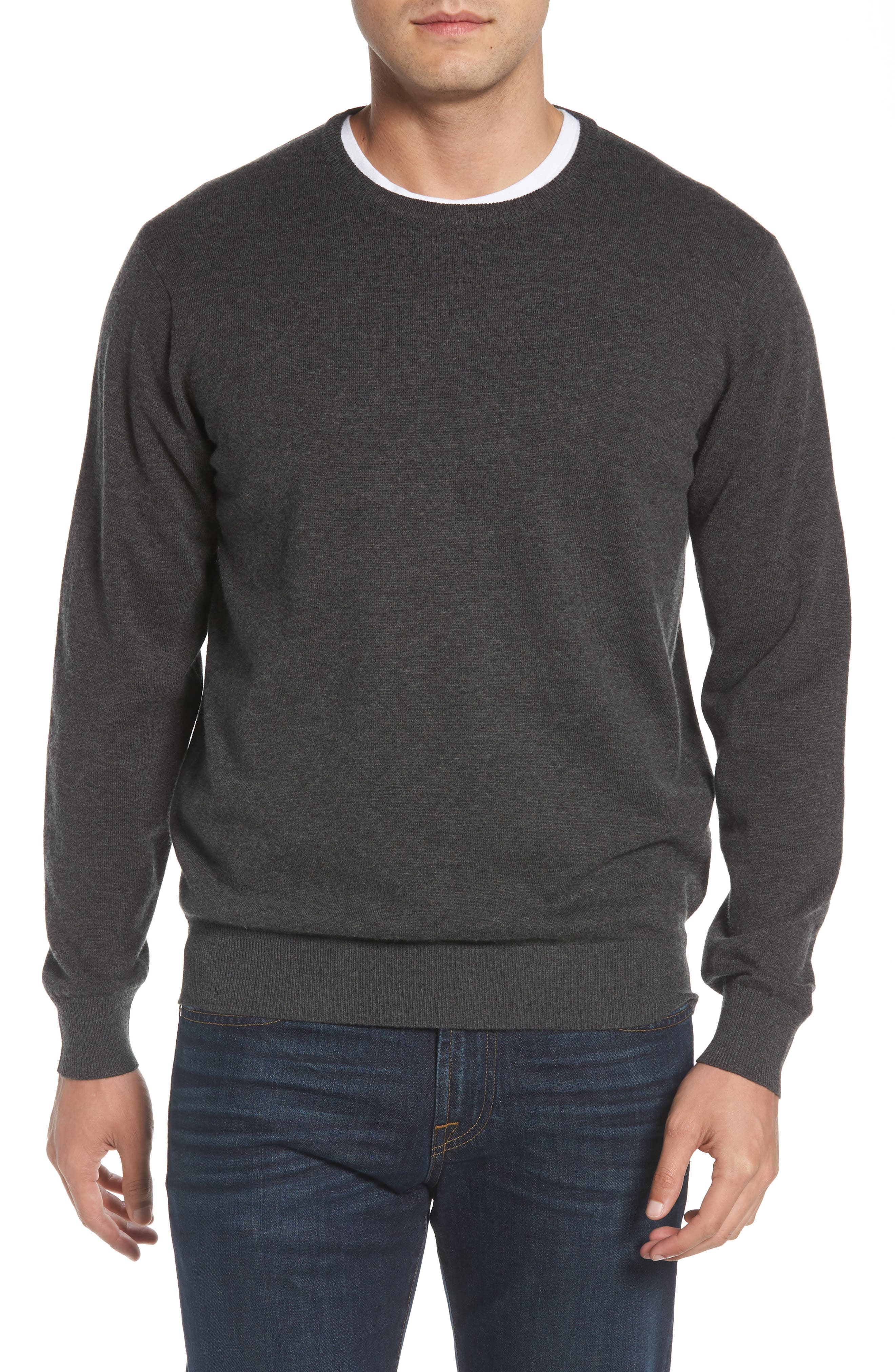Wool & Cotton Crewneck Sweater,                             Main thumbnail 1, color,                             022
