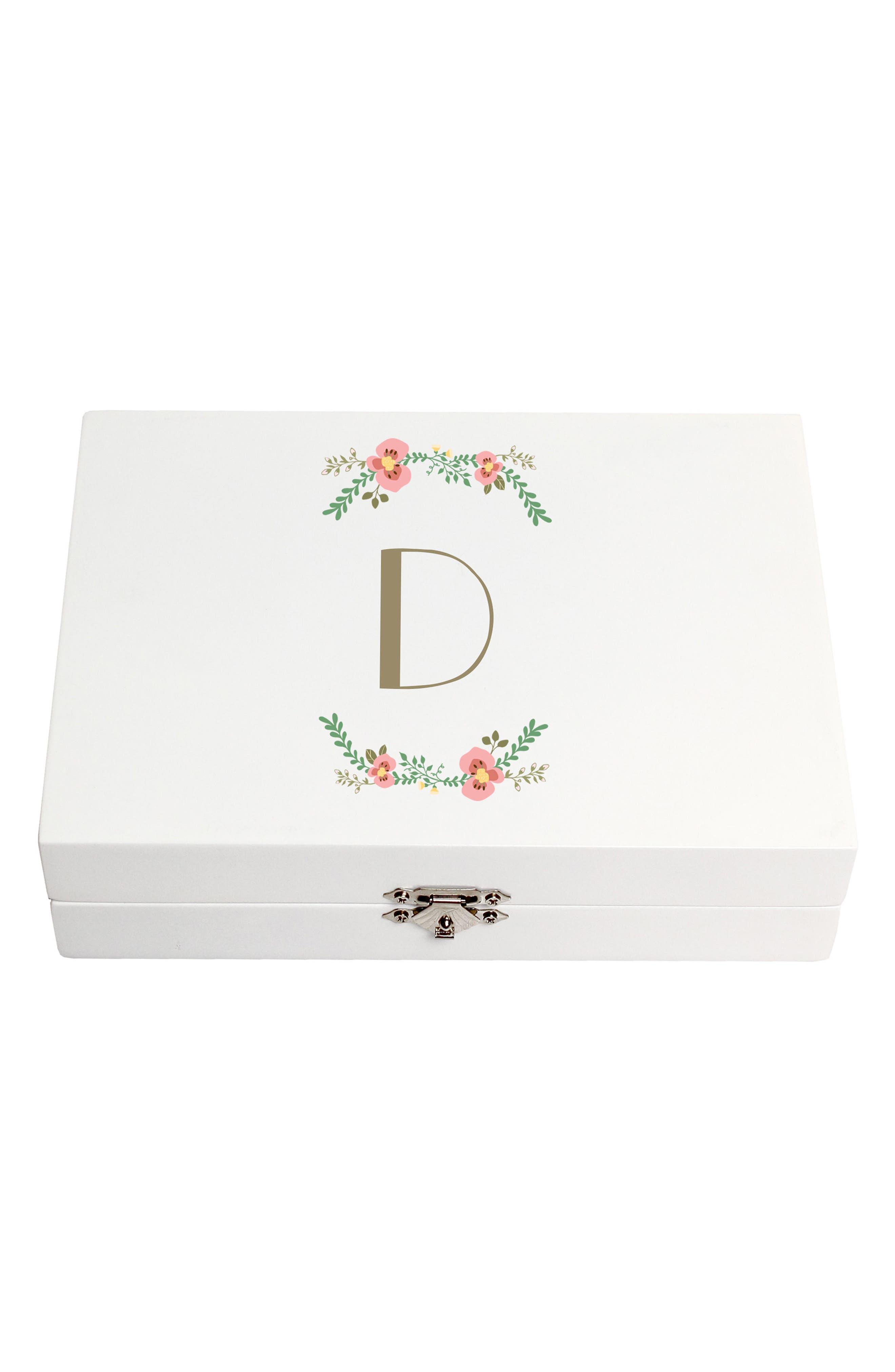 Monogram Floral Wedding Ring Box,                             Main thumbnail 4, color,