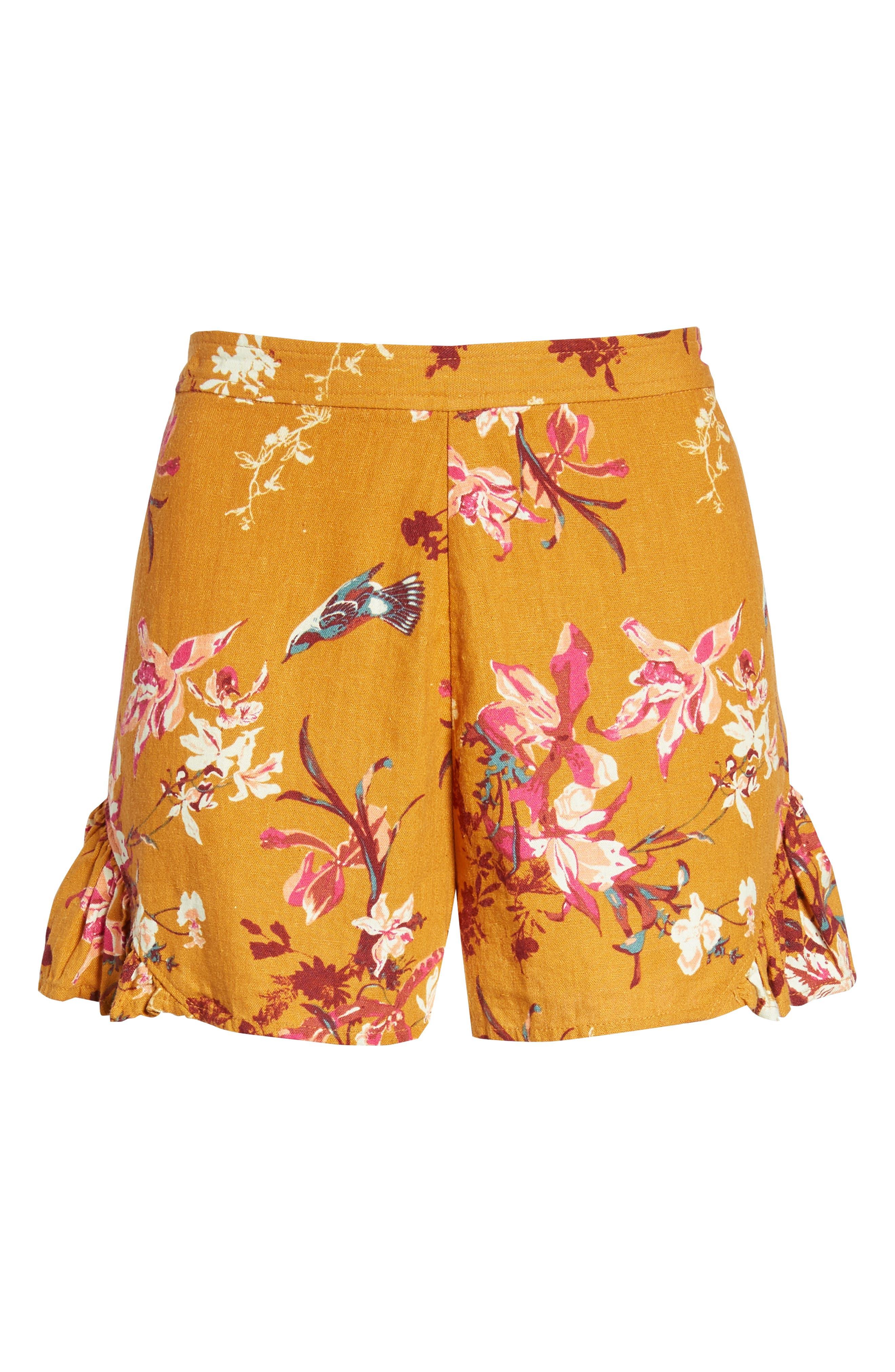 Print Linen Blend Shorts,                             Alternate thumbnail 6, color,                             720