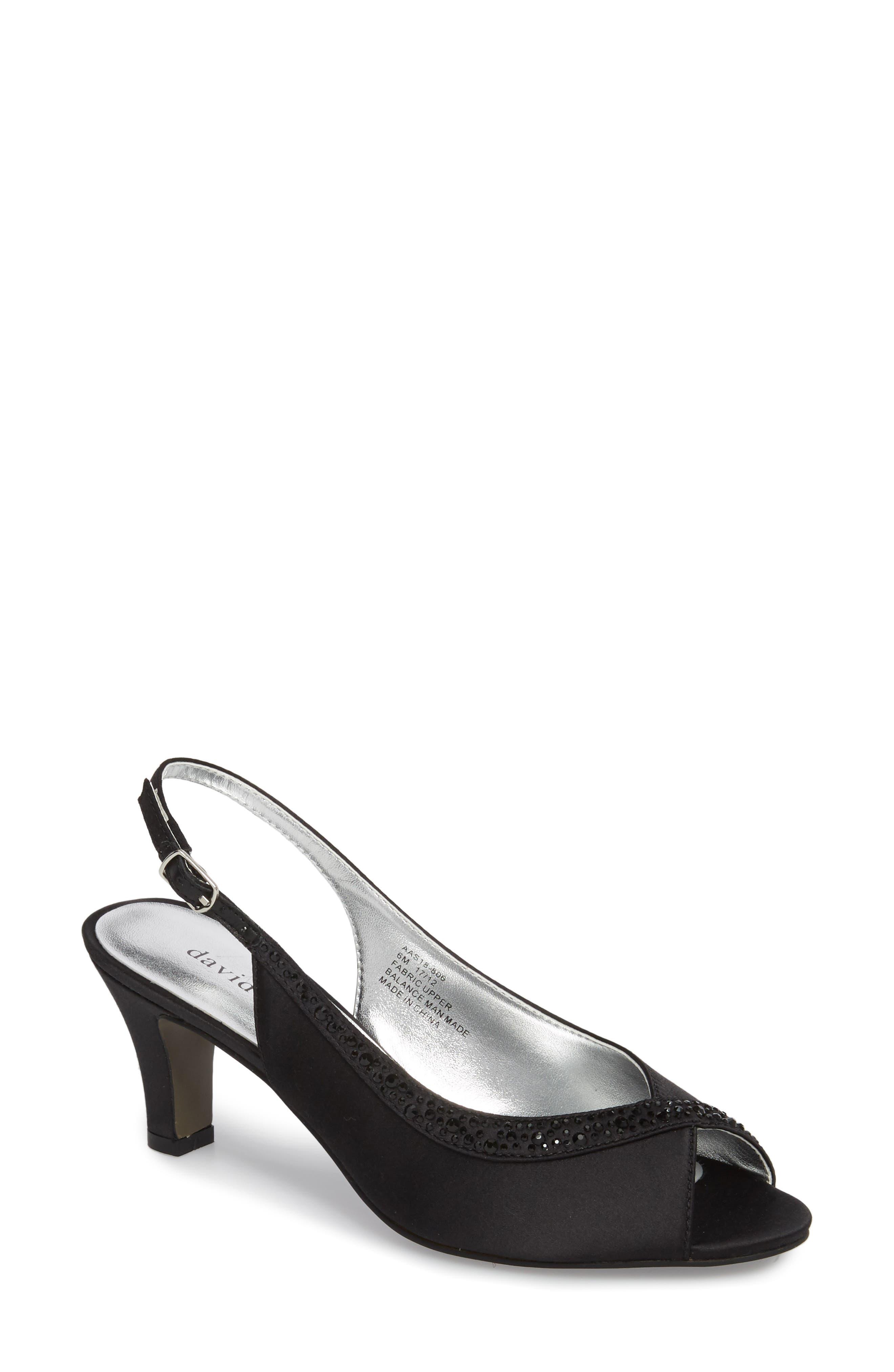 Dainty Slingback Sandal,                             Main thumbnail 1, color,                             BLACK SATIN