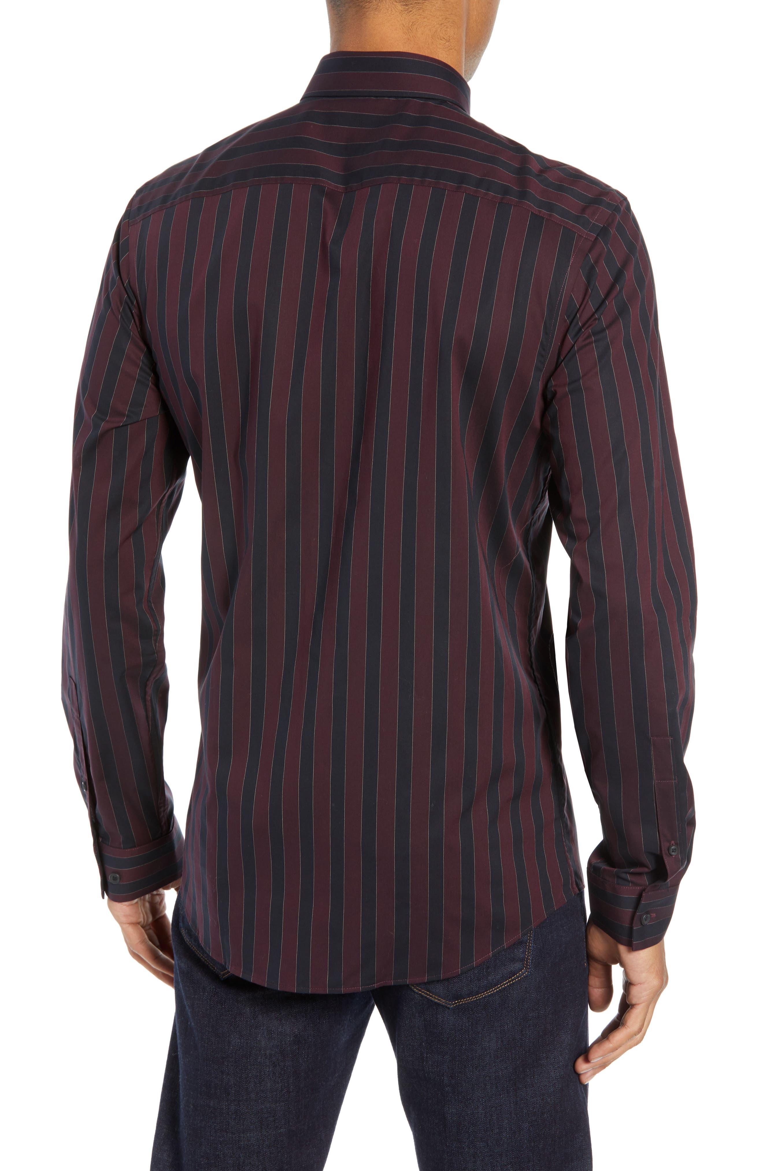 Trim Fit Non-Iron Stripe Sport Shirt,                             Alternate thumbnail 3, color,                             938