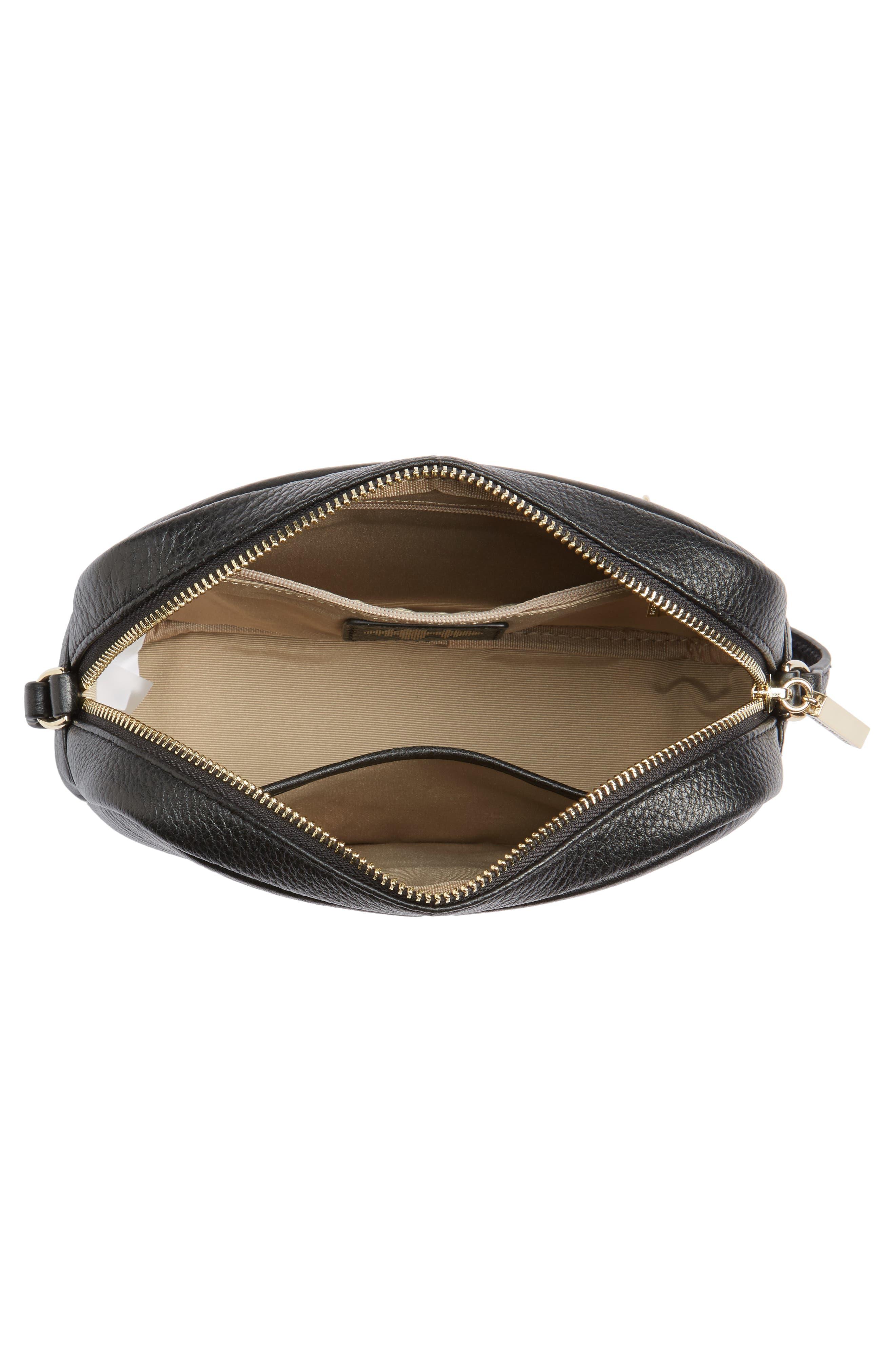 Céline Dion Adagio Leather Camera Crossbody Bag,                             Alternate thumbnail 4, color,                             001