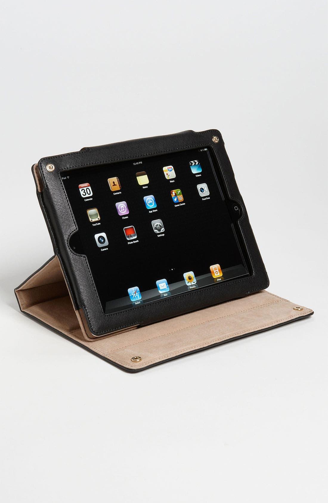 'Robinson' Saffiano Leather Tablet Case,                             Alternate thumbnail 3, color,                             001