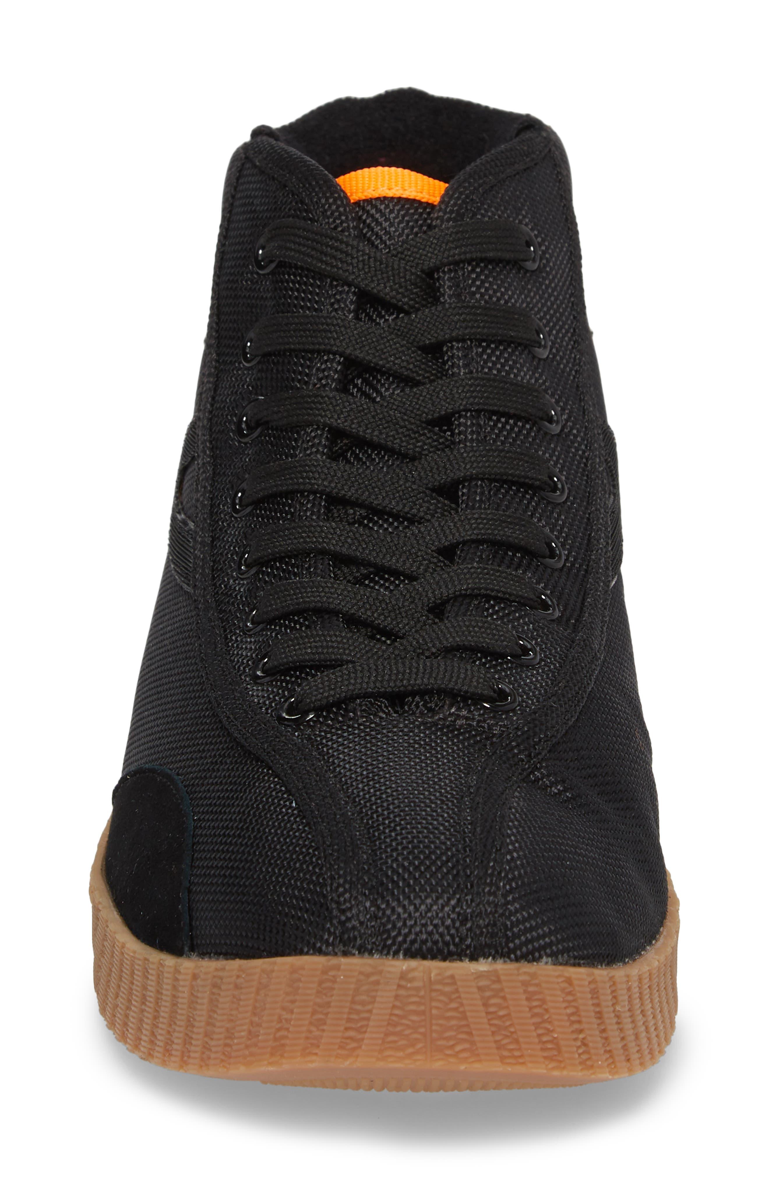 Andre 3000 Nylite High Top Sneaker,                             Alternate thumbnail 4, color,                             BLACK/ NEON ORANGE NYLON