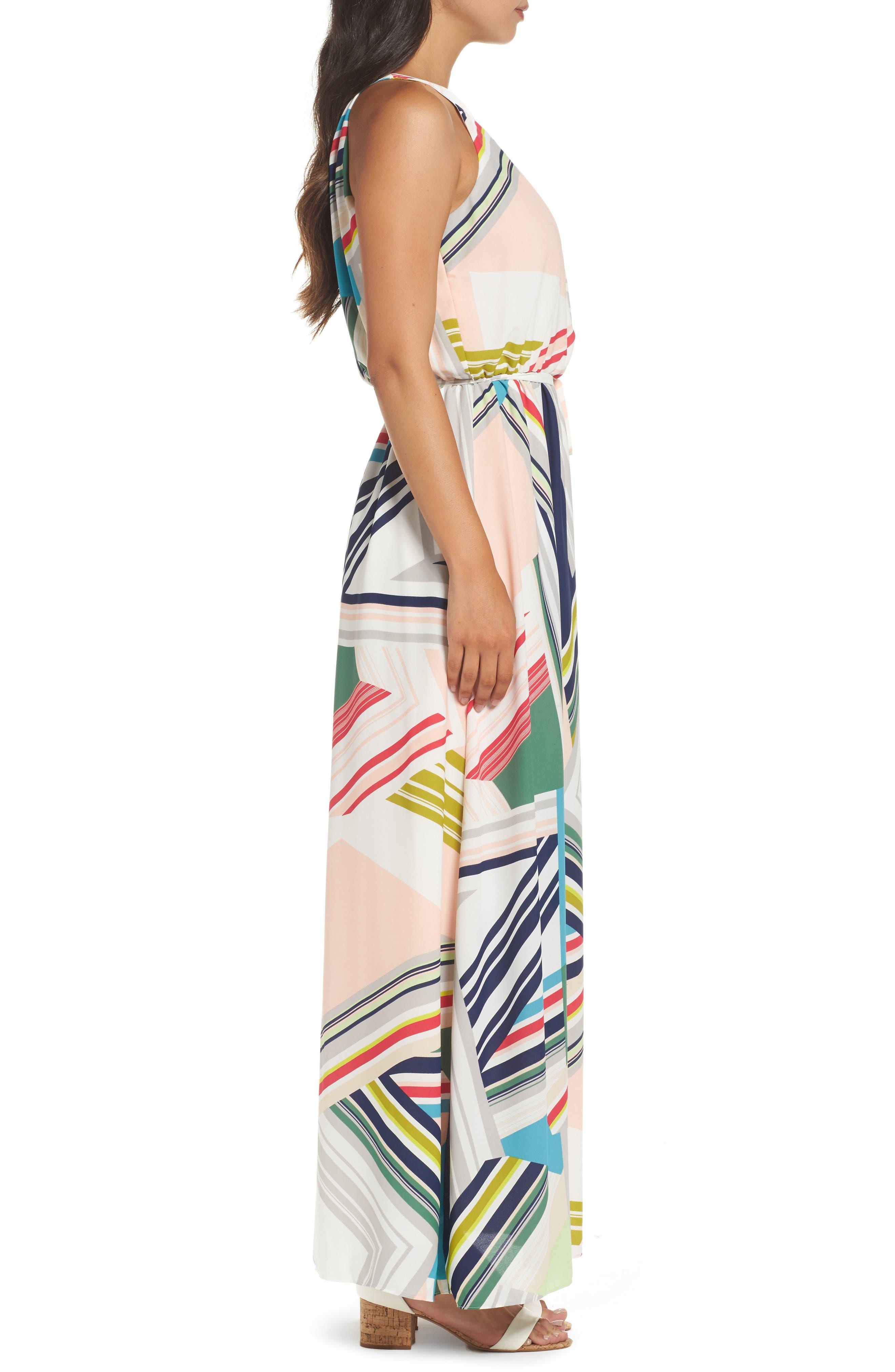Stripe Maze Pleated Maxi Dress,                             Alternate thumbnail 3, color,                             196
