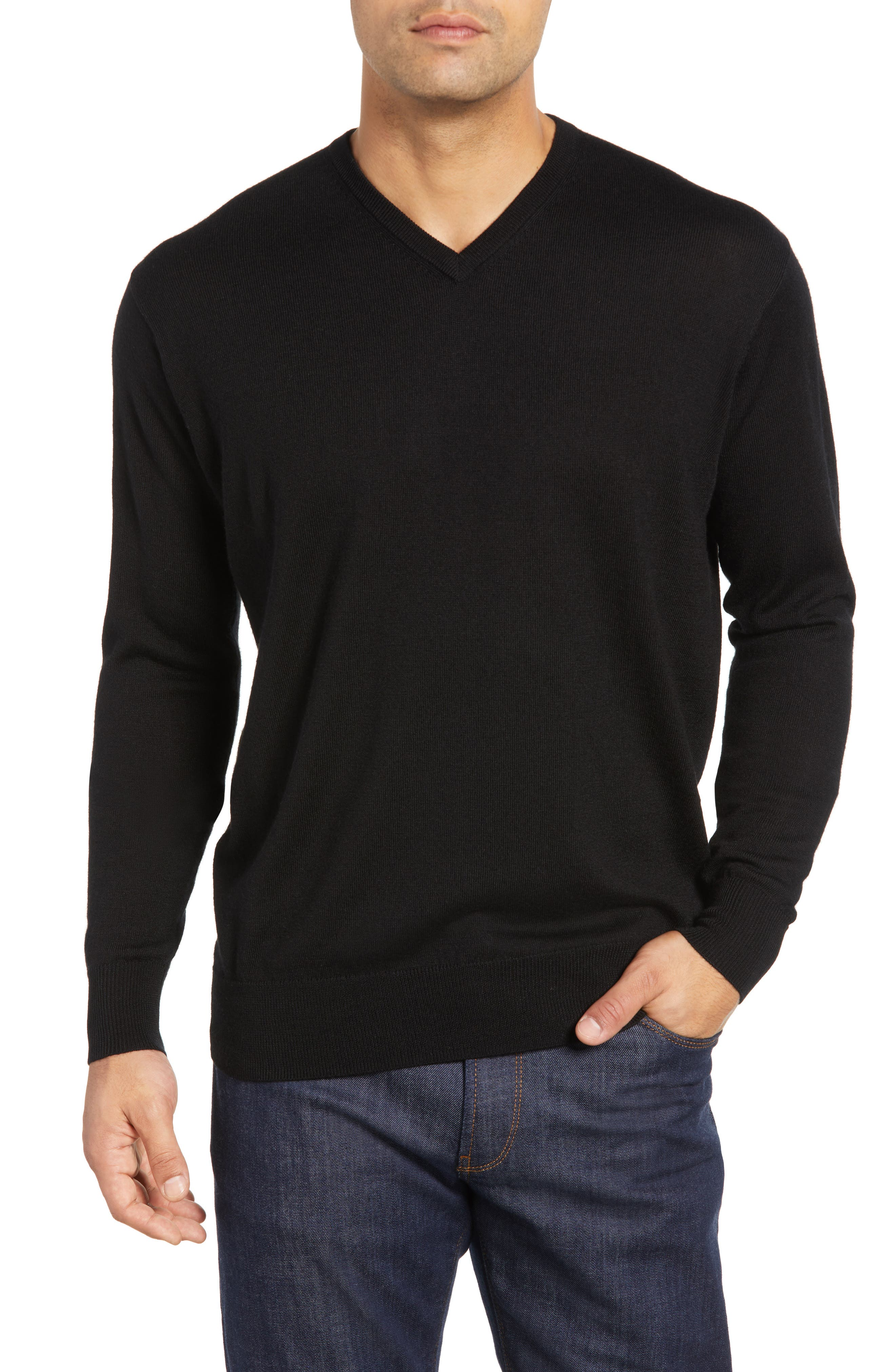 Wool & Silk V-Neck Sweater,                         Main,                         color, 001