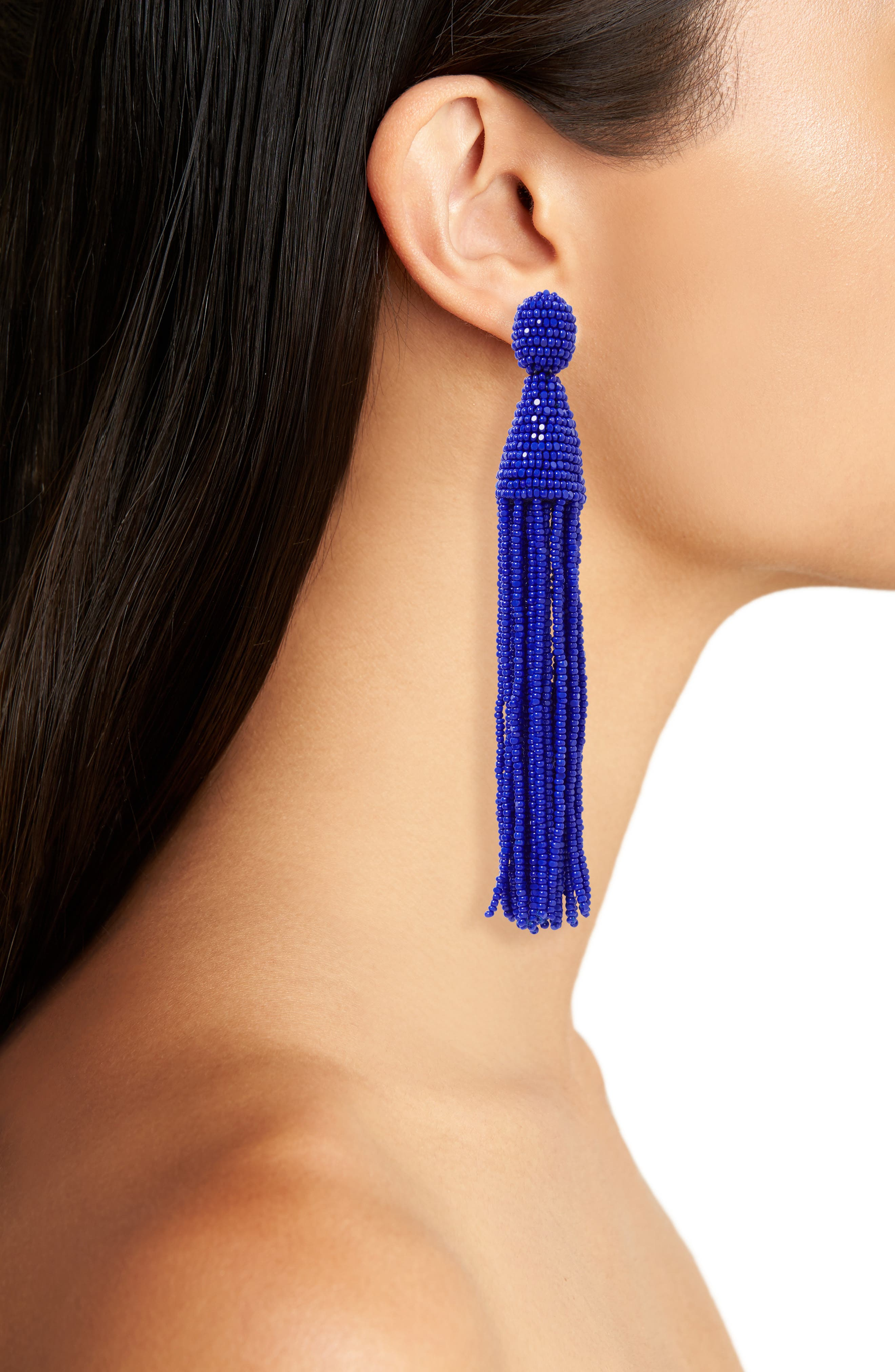 Long Tassel Drop Clip Earrings,                             Alternate thumbnail 2, color,                             472