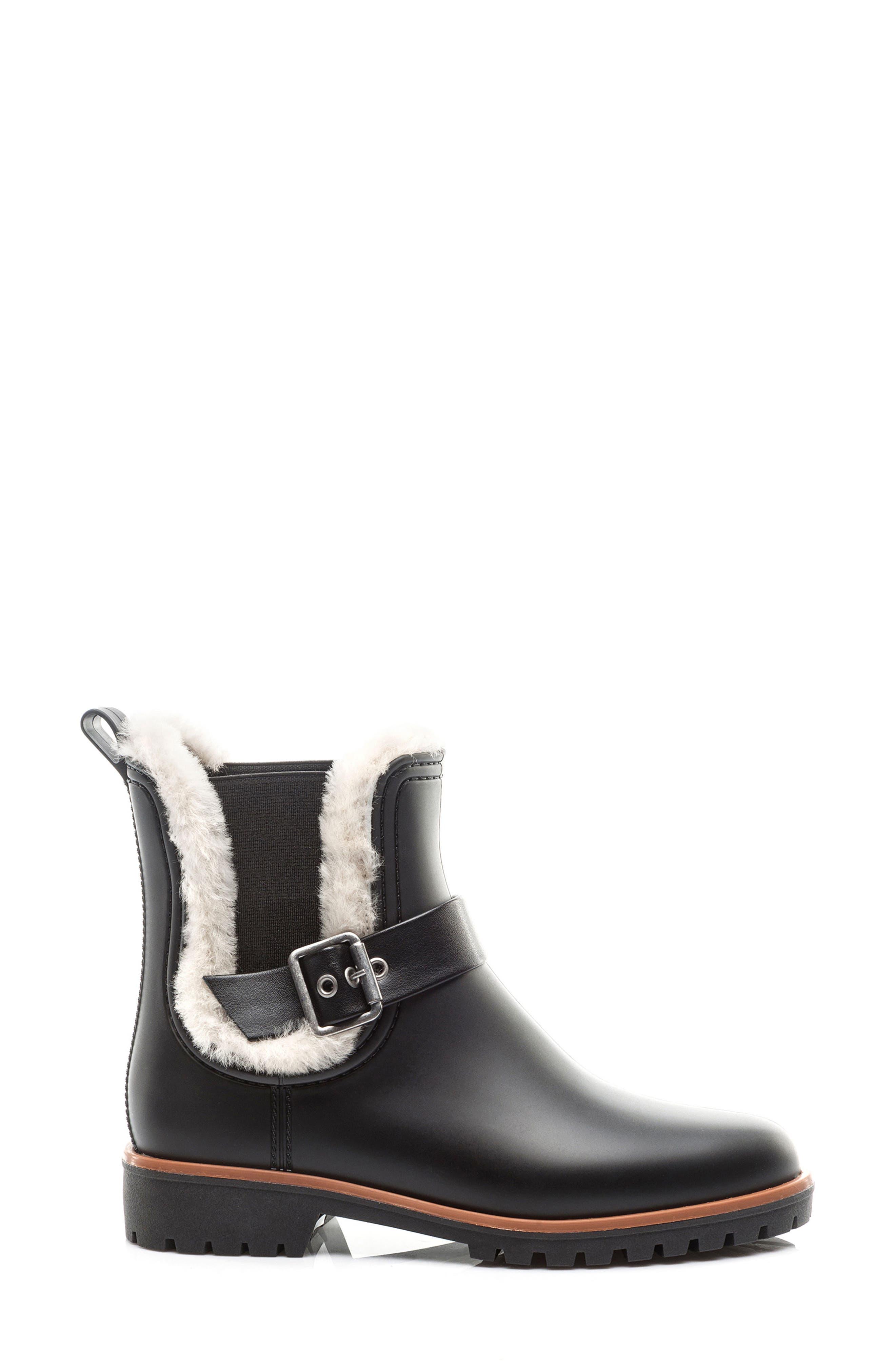 Bernardo Zain Genuine Shearling Trim Rain Boot,                             Alternate thumbnail 3, color,                             001