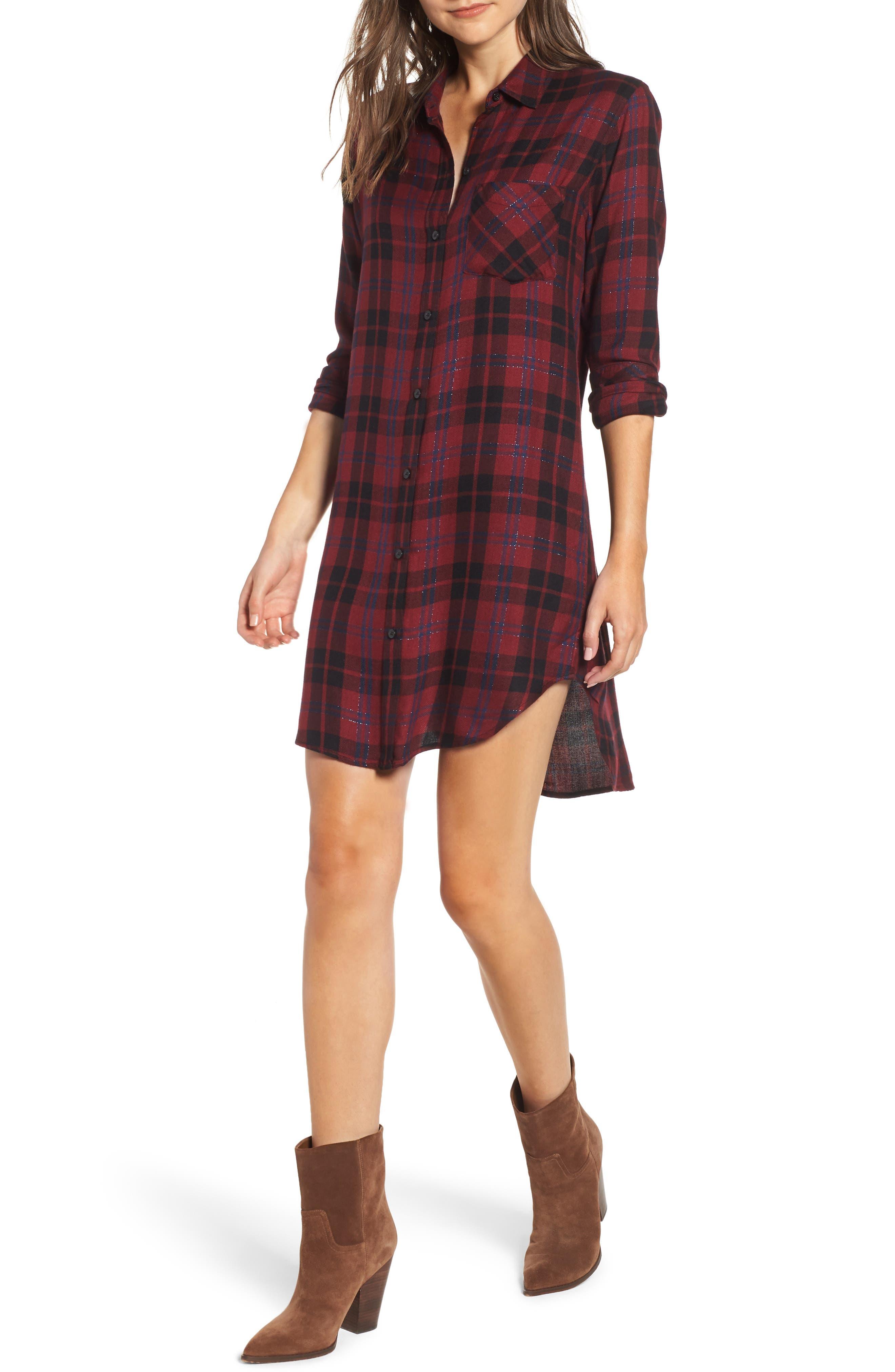 Rails Bianca Flannel Shirtdress, Burgundy