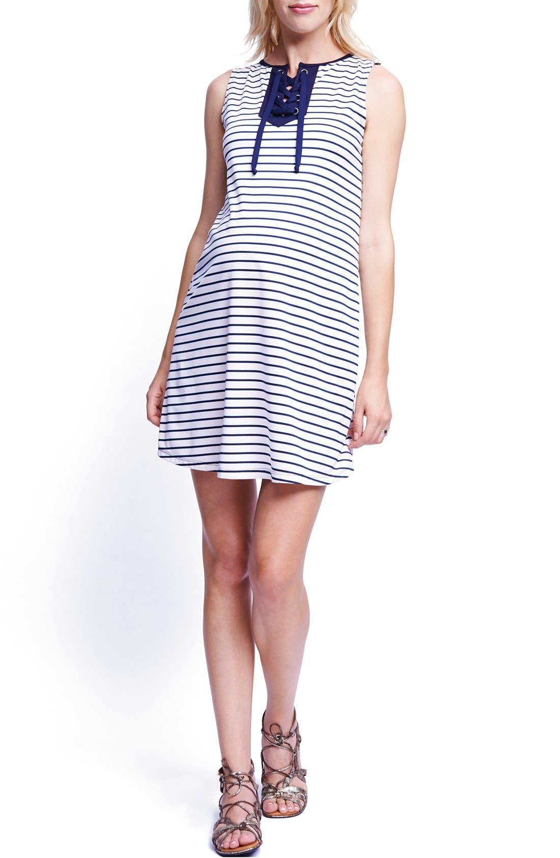 Lace-Up Maternity Shift Dress,                         Main,                         color, 411