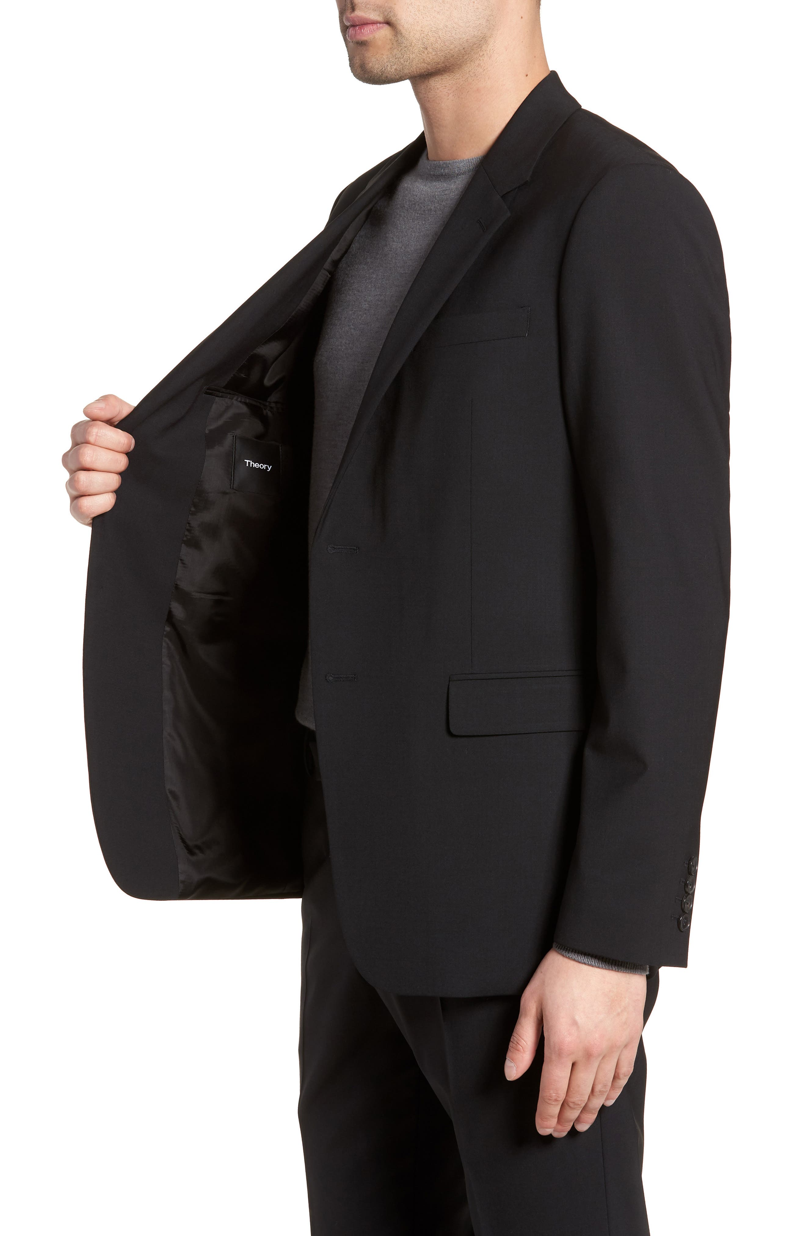 Chambers Slim Fit Stretch Wool Blazer,                             Alternate thumbnail 3, color,                             BLACK