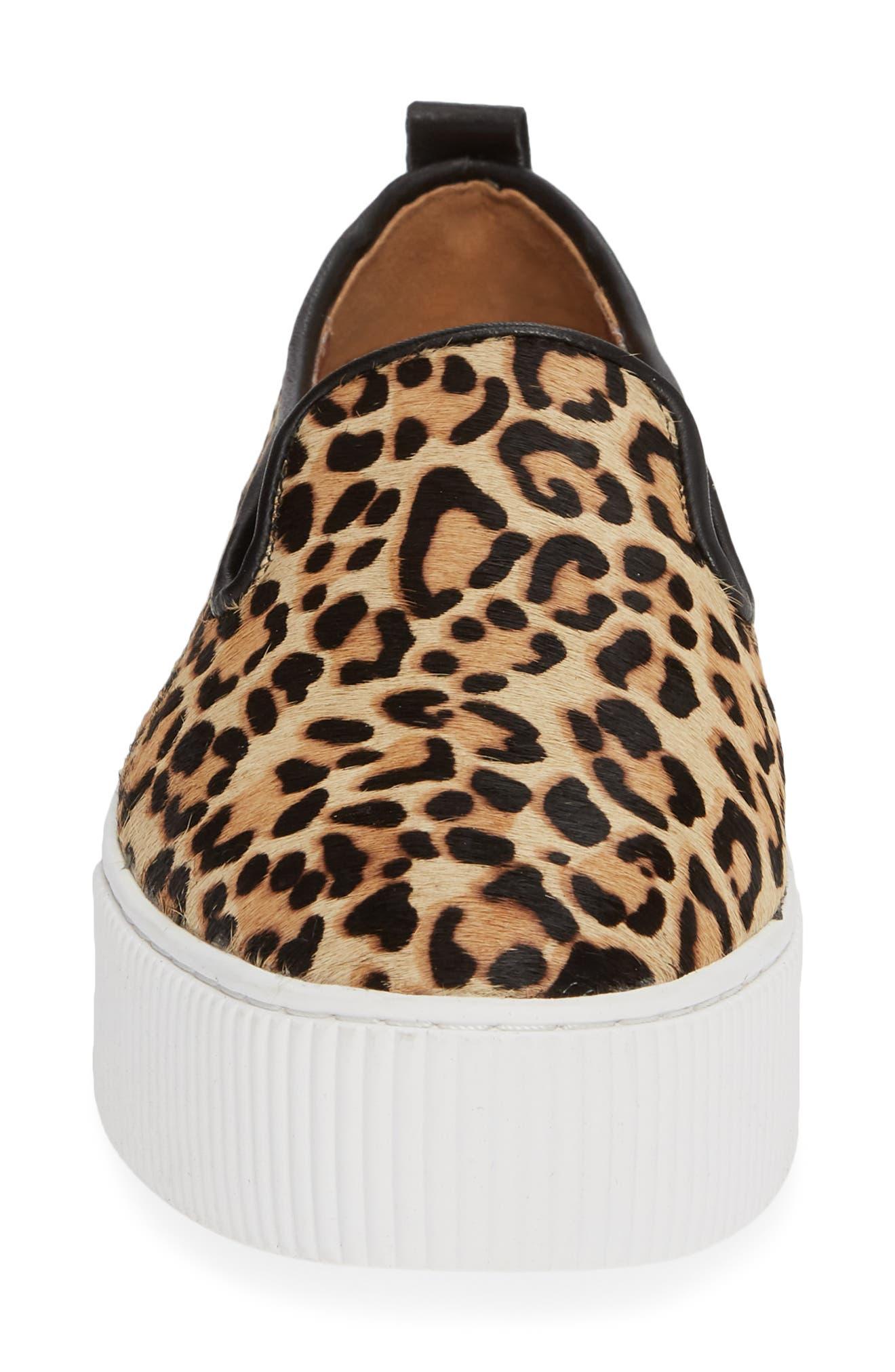 Baylee Platform Slip-On Sneaker,                             Alternate thumbnail 4, color,                             LEOPARD HAIRCALF