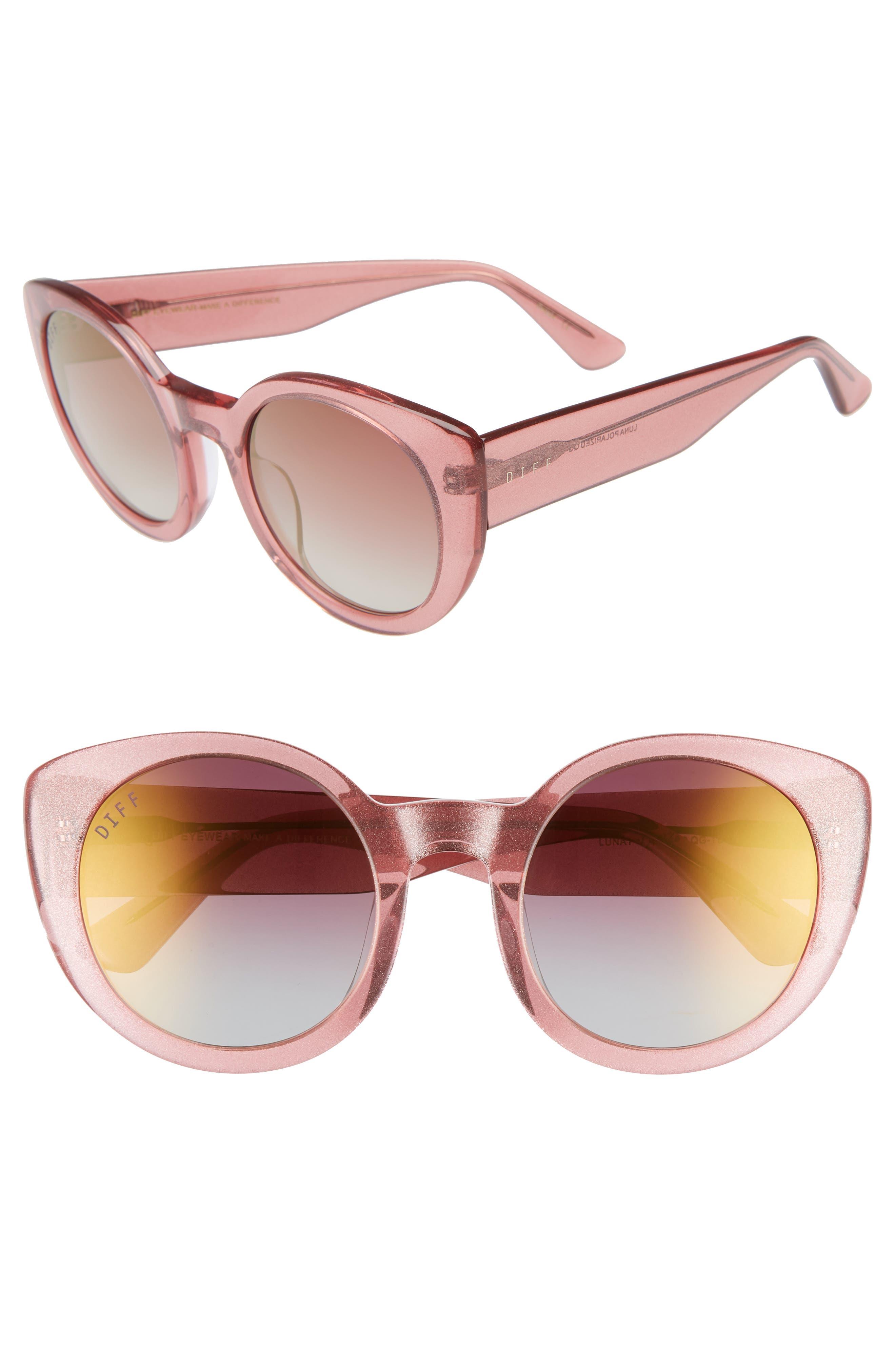 Diff Luna 5m Polarized Round Sunglasses - Quartz Glitter/ Rose