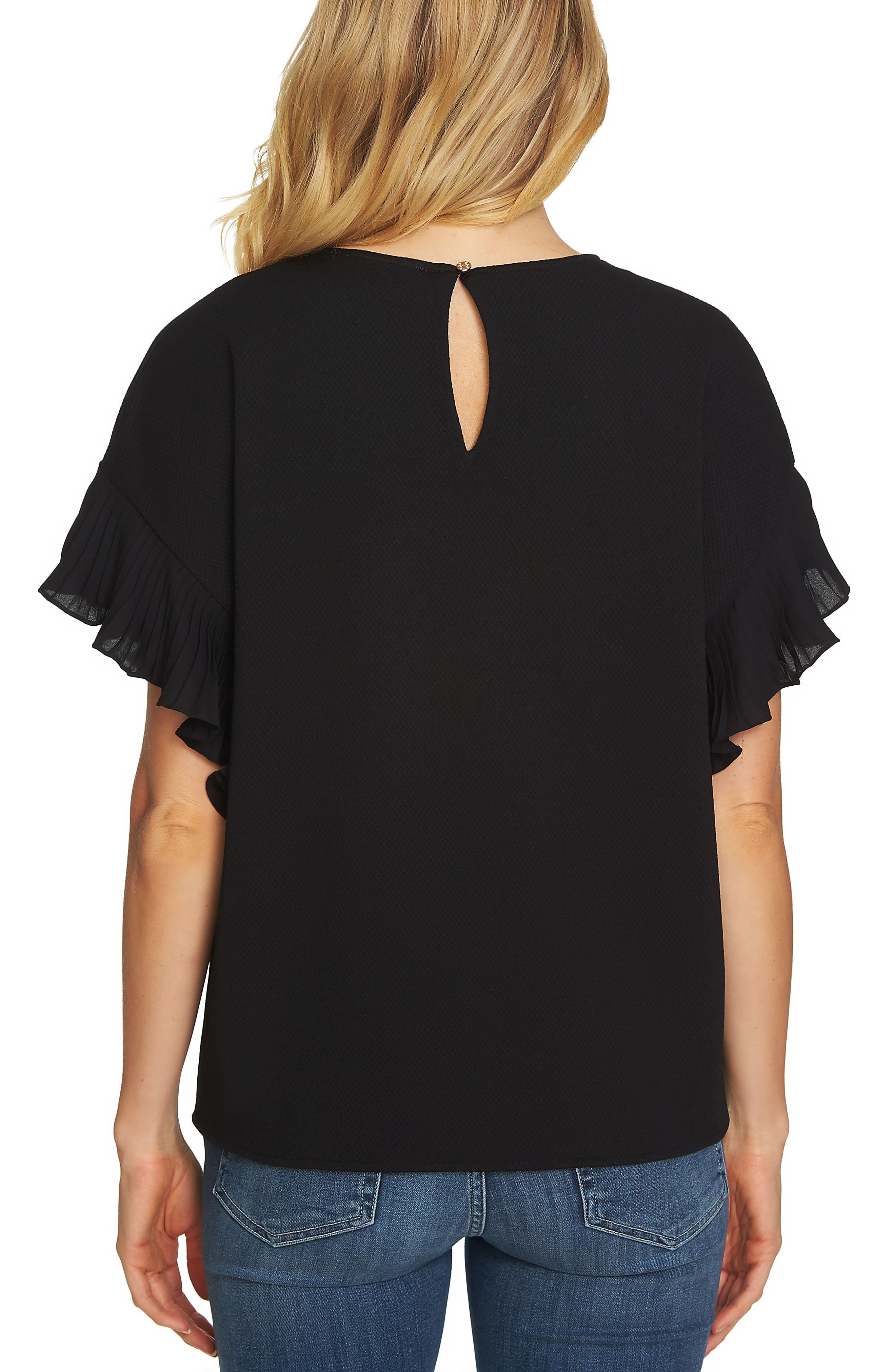 Honeycomb Knit Pleat Sleeve Shirt,                             Alternate thumbnail 2, color,                             006
