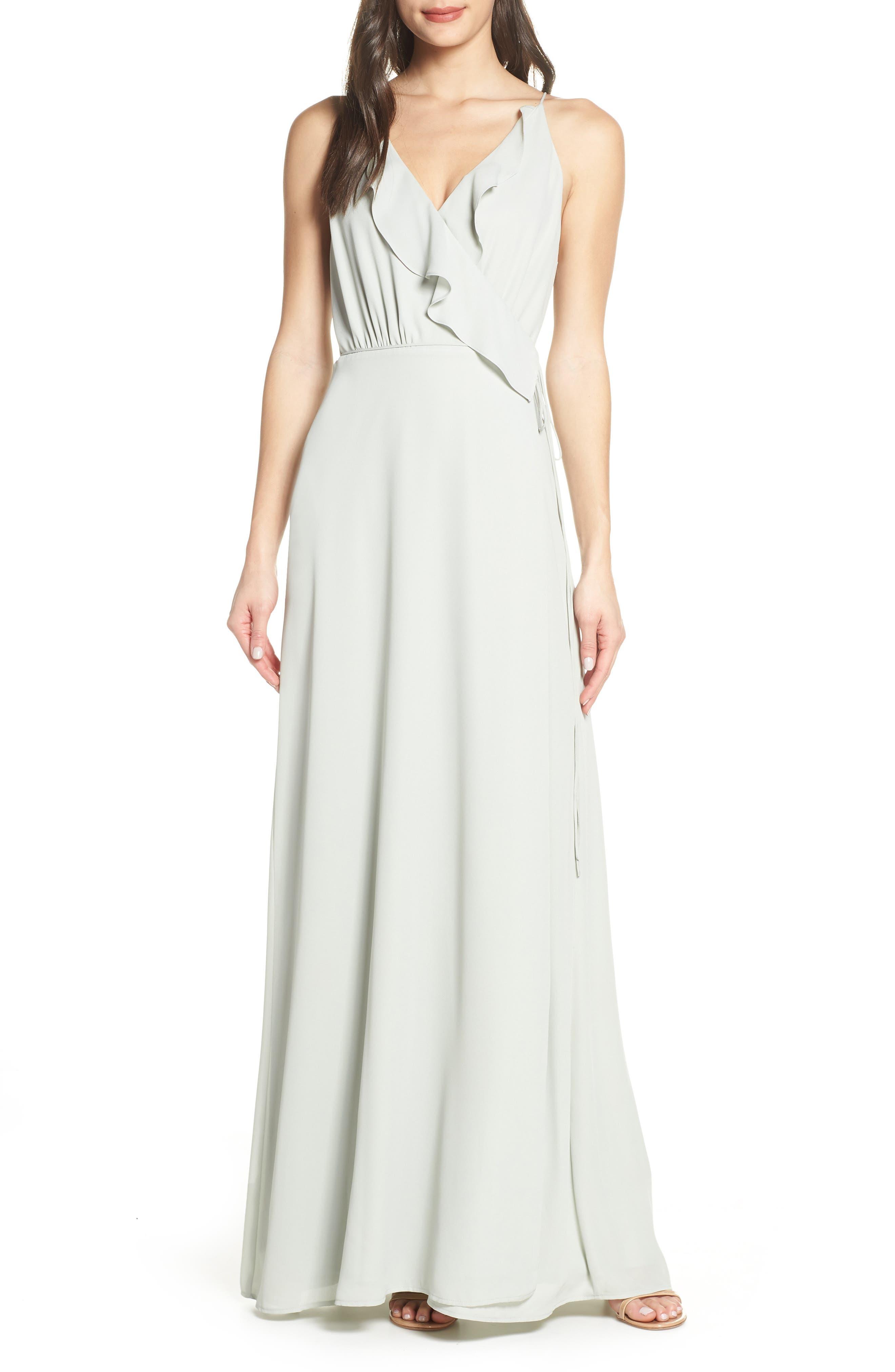 WAYF Jamie Ruffle Wrap Gown, Main, color, SAGE