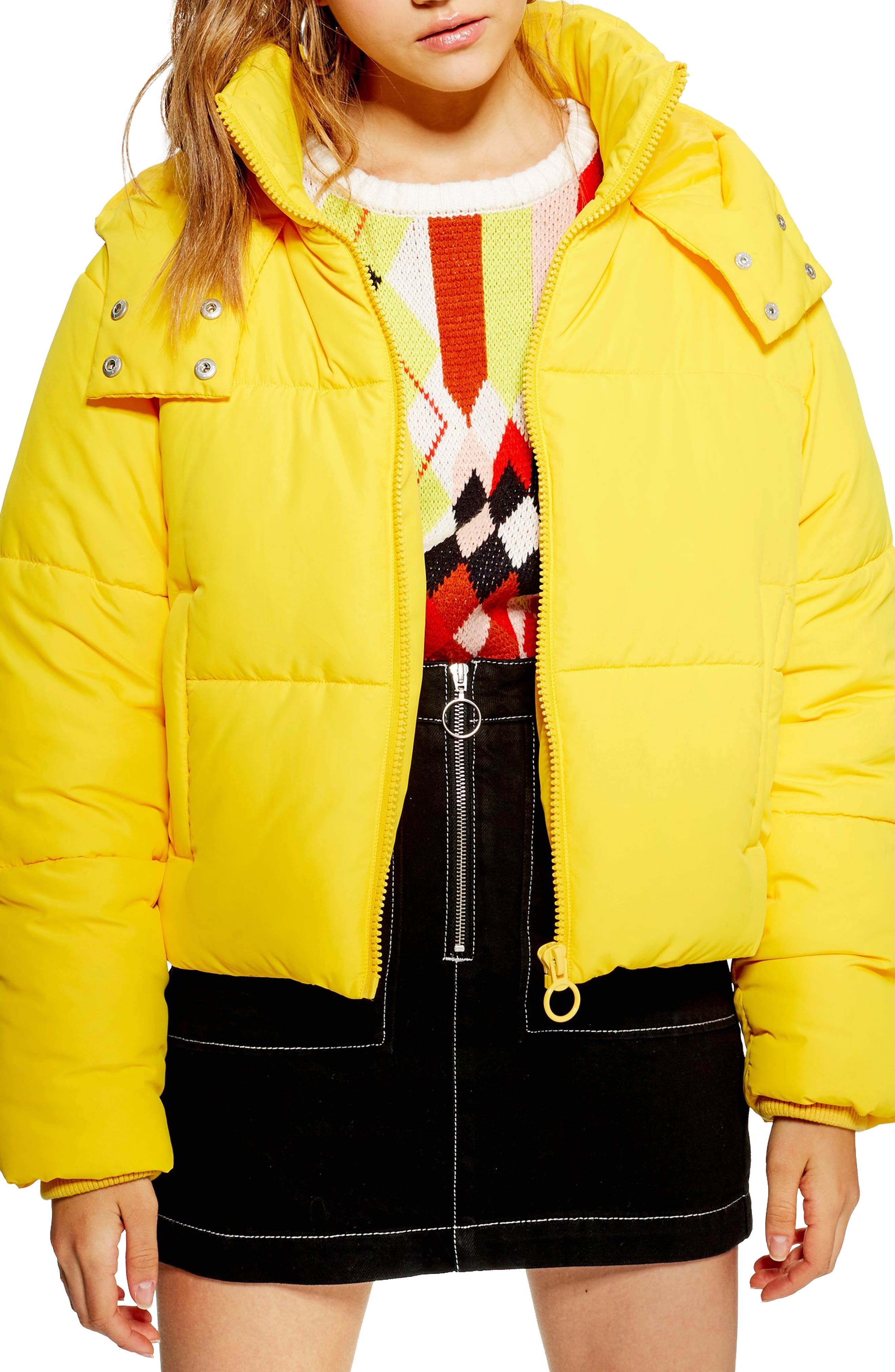 Hooded Puffer Jacket, Main, color, YELLOW